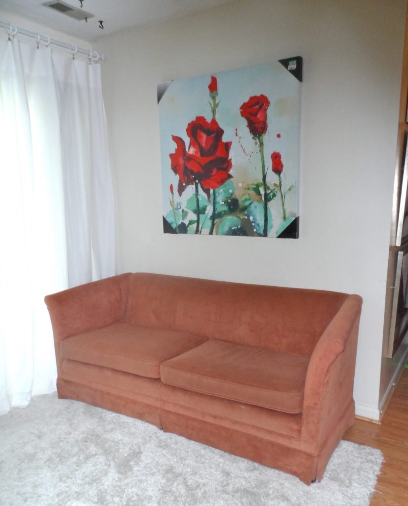 Pink Thrifted Chenille couch