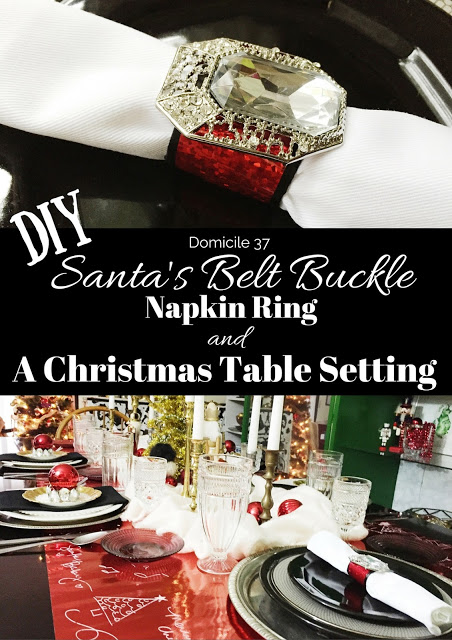 Santa's Belt Buckle Napkin Ring and A Christmas Table Setting