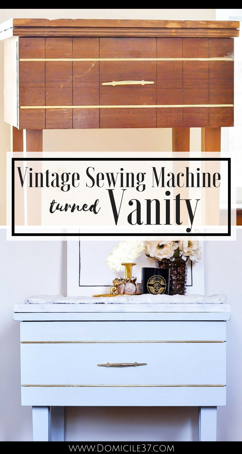 Vintage sewing machine turned vanity | Painted vanity | Chalk paint | General Finishes chalk paint | Blue vanity | repurposed sewing machine table