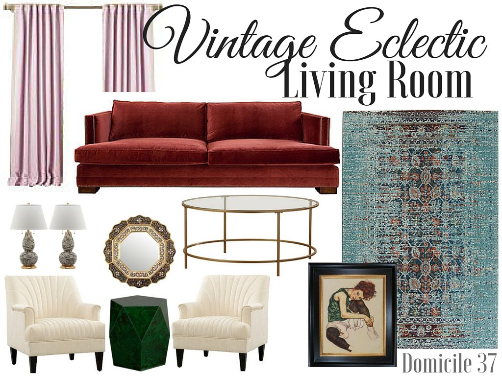 Vintage Eclectic Living Room moodboard using wayfair home decor items