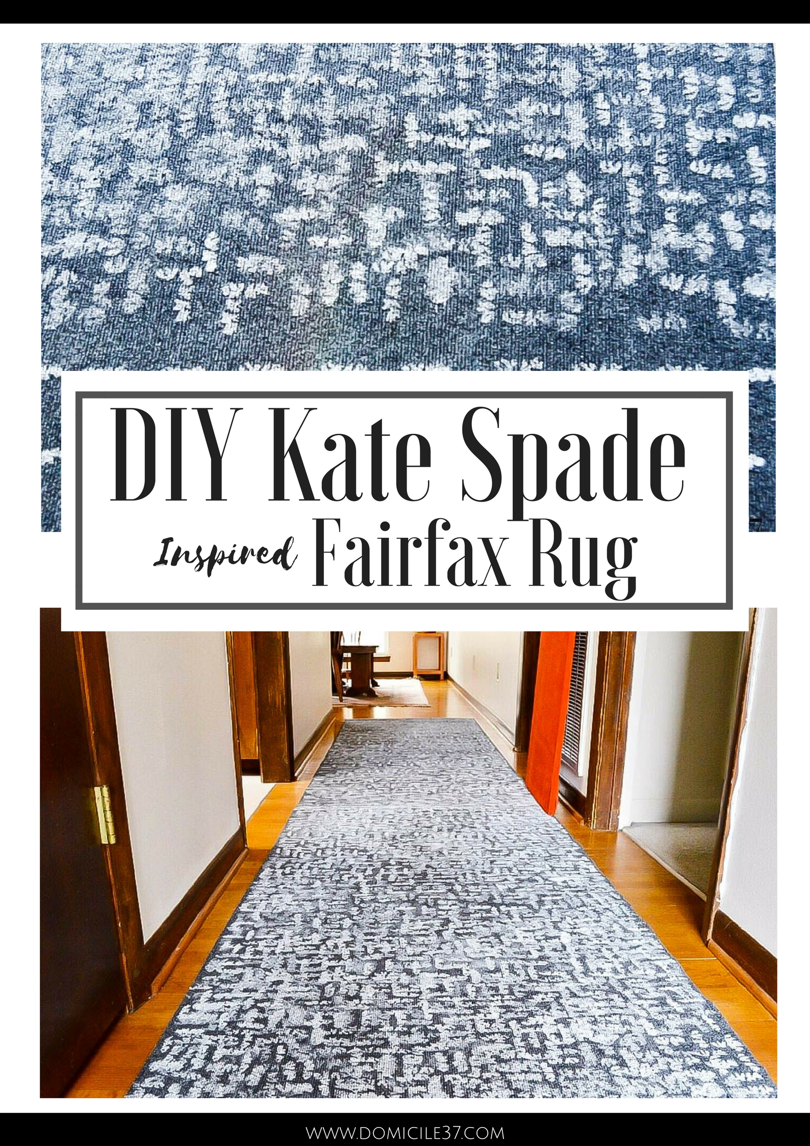 How to create a Kate Spade inspired stippled rug | Painted rug tutorial | Painted utility rug| DIY Utility rug | Kate Spade inspired | Inspired by DIY