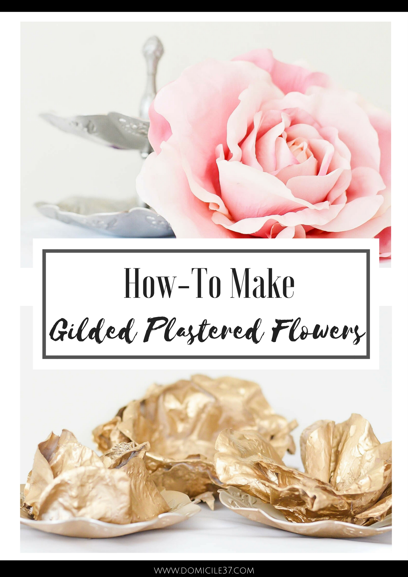 Swap it like it's hot | Home Made By Carmona | Before and After DIY's | Thrifted DIYs | Gilded Plastered Flowers | How-To make gilded flowers | plastered flowers