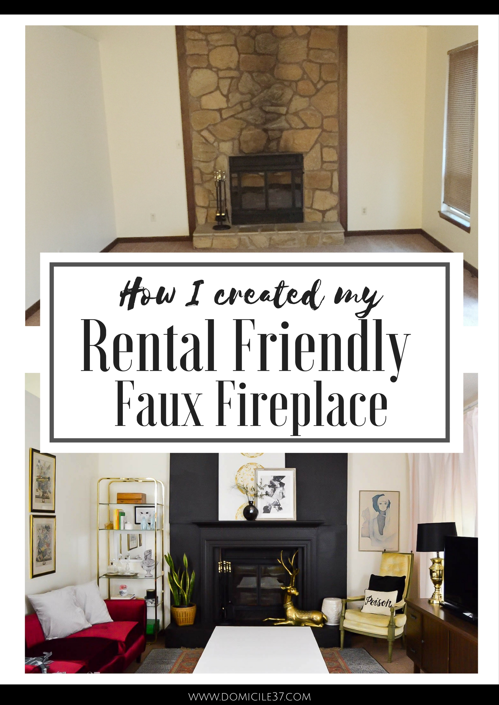 Faux fireplace | rental friendly fireplace | One Room Challenge | Faux fireplace facade | black fireplace | vintage eclectic decor