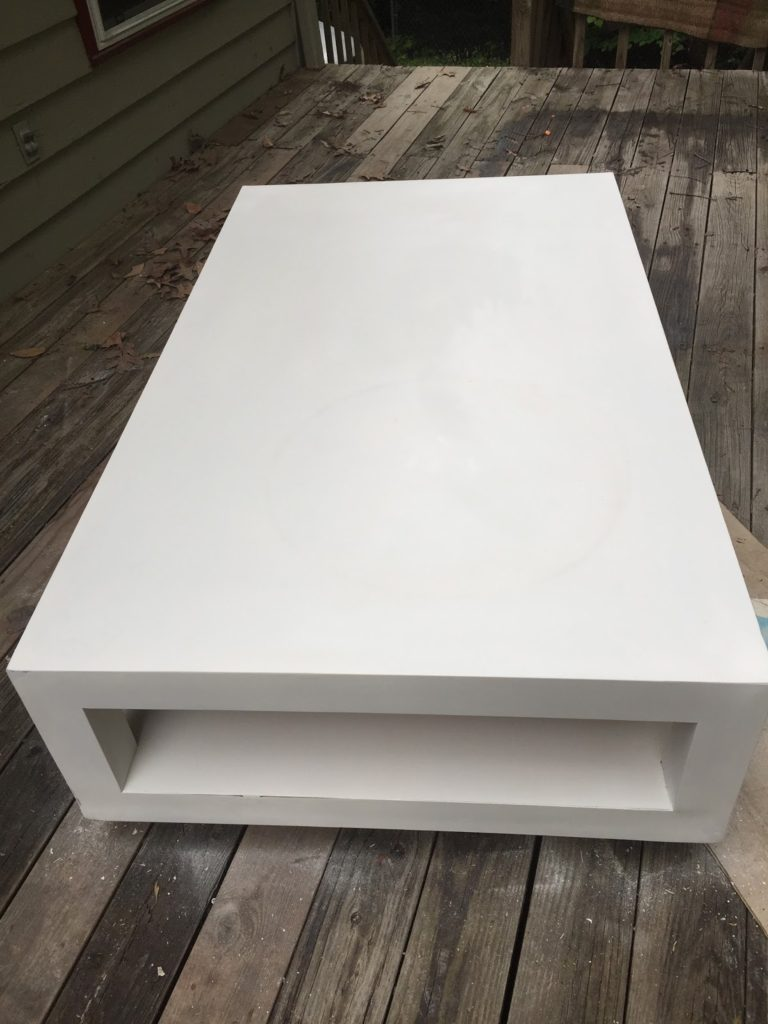 3m All Purpose Bfondol, How to fix chipped particle board using 3m all purposed bonds, Domicile 37, It's So Ugly It's Cool, Craigslist find, Valspar Enamel White paint, One Room Challenge
