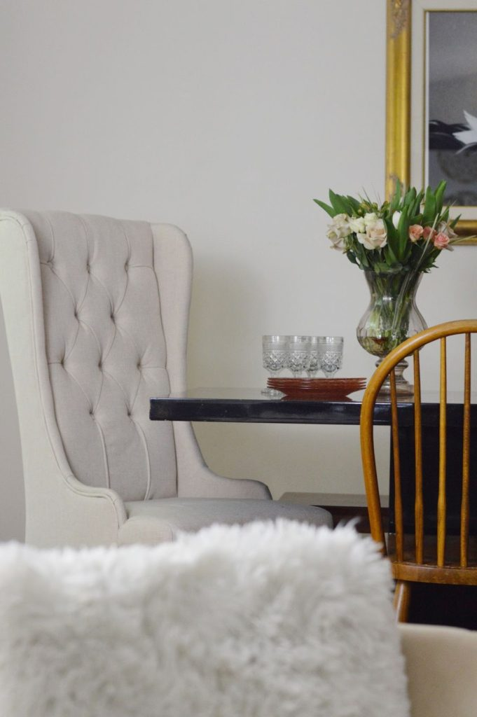 one room challenge, Calling it Home, ORC 2016, room makeover, lamps plus, rugs USA, Minted, Rit Dye, blush pink curtains, black and white rug, eclectic collected, domicile 37