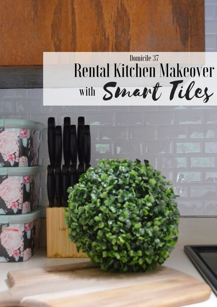 Rental friendly kitchen makeover, smart tiles, white subway tiles, mini kitchen makeover, rental house, 1980's rental home, kitchen decor, interior design, Domicile 37