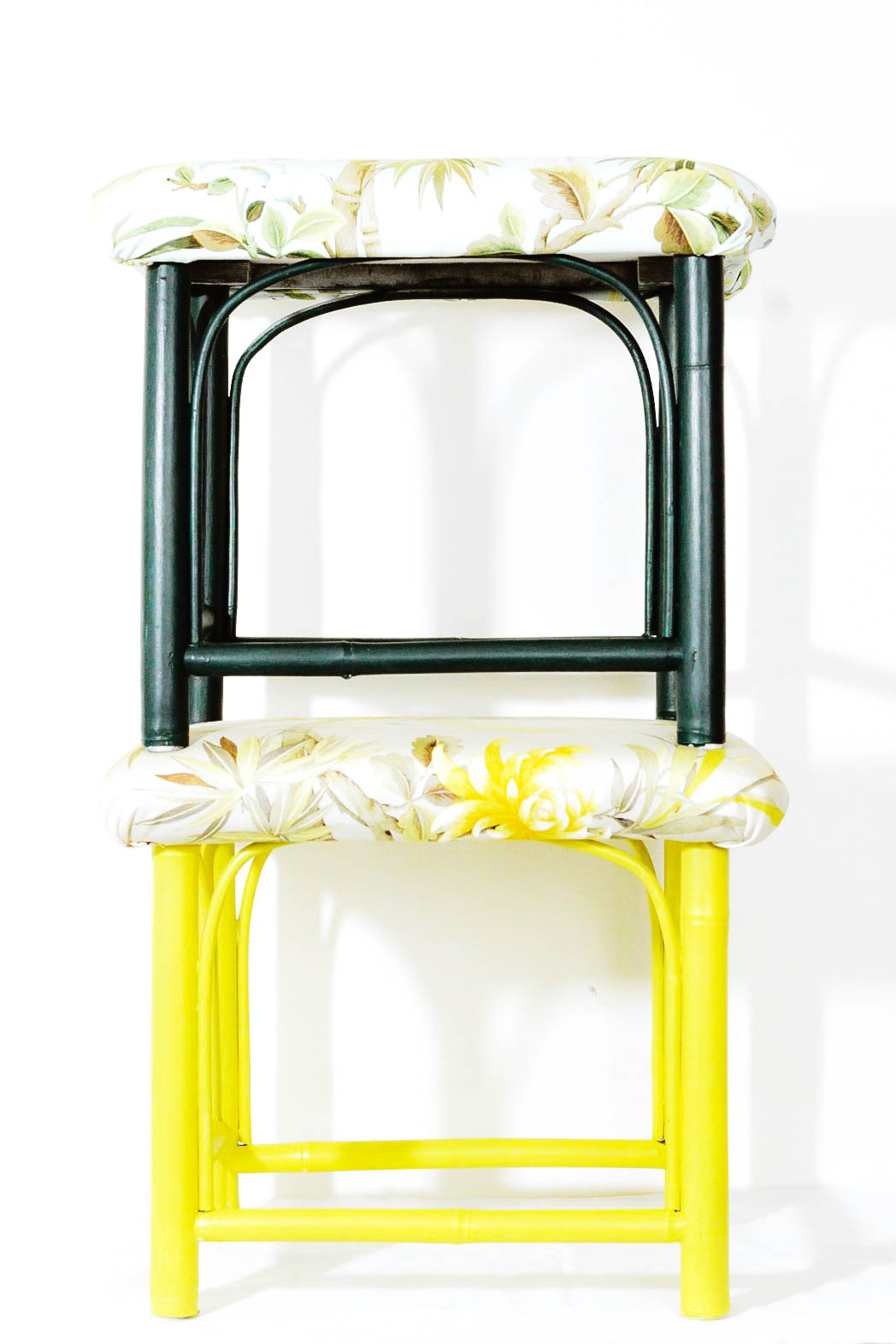 repurposed furniture | Ace Hardware paint | chinoiserie eclectic stools | free cycle
