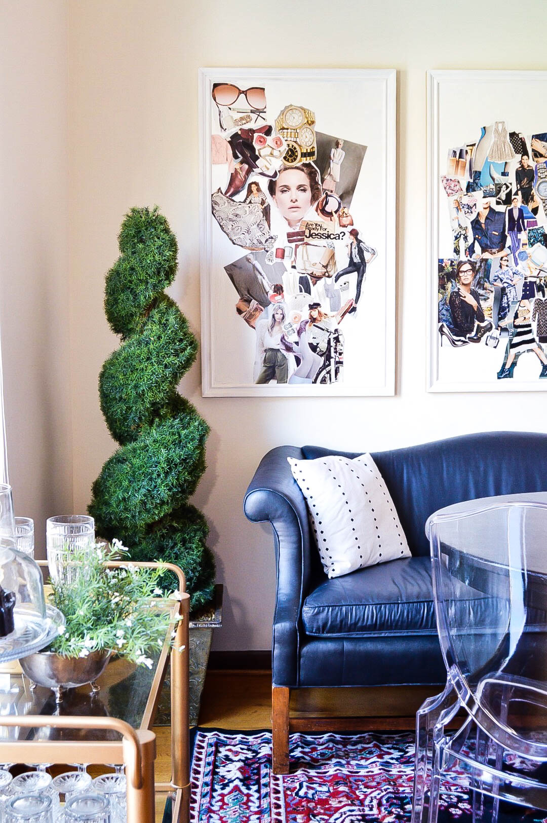 Dining Room makeover   Vintage eclectic dining room   Edgy dining room   magazine collage art   Black camelback couch   Black dining room   Eclectic dining room   Rental living   Rental home decor   Rental dining room
