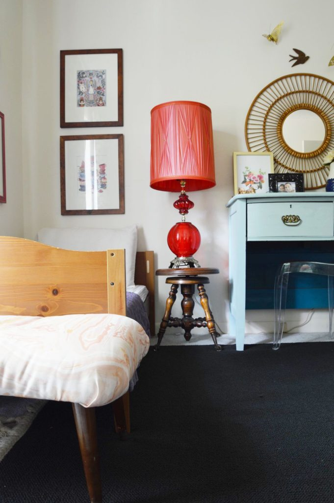 Eclectic shared girl's room with toddler bed and twin bed