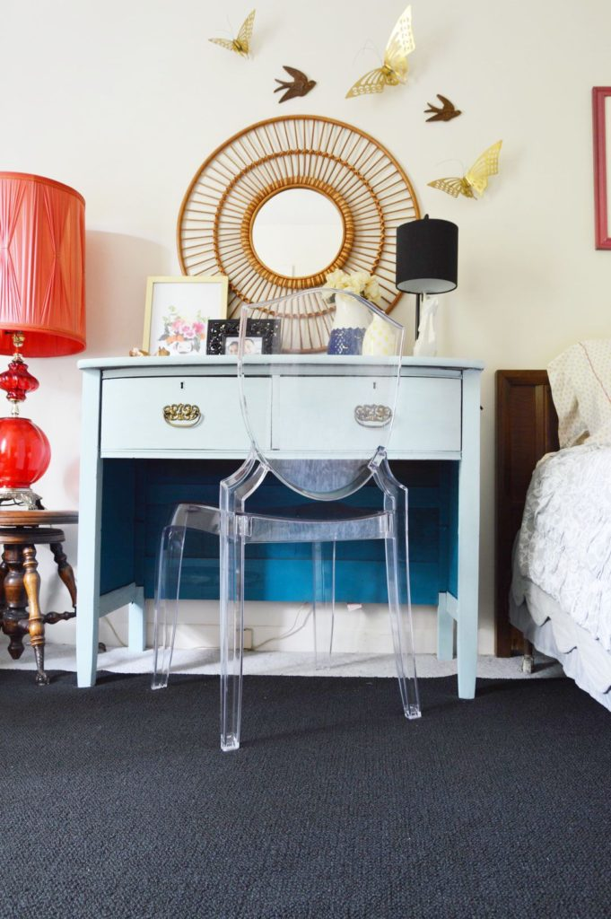 Eclectic girls room vanity