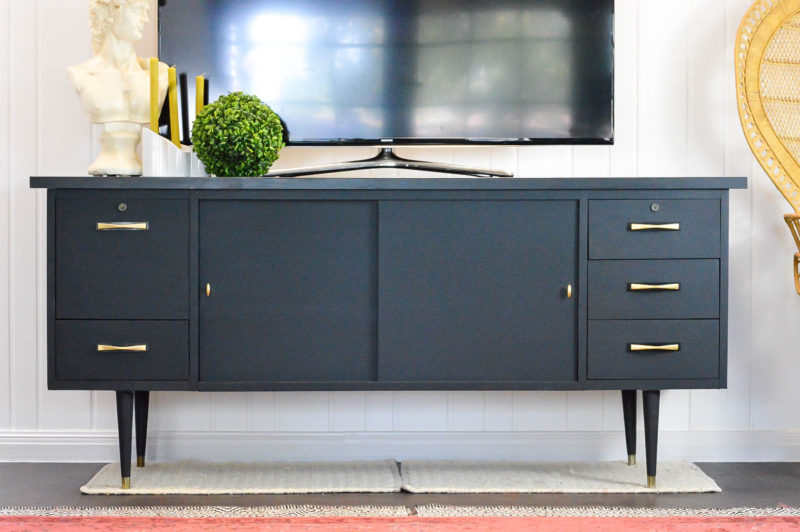 MCM Console Makeover with Velvet Finishes Paint