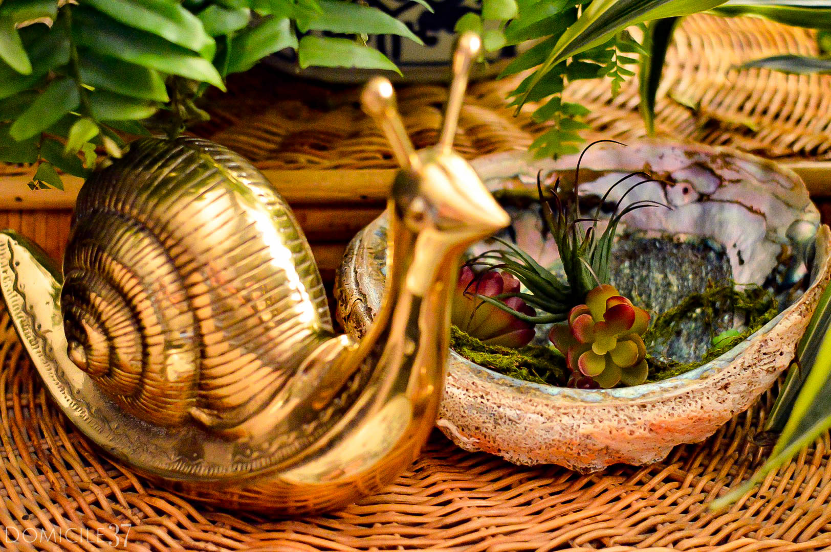 Brass snail | Faux succulent planter | Plant styling | Mixing faux and real plants