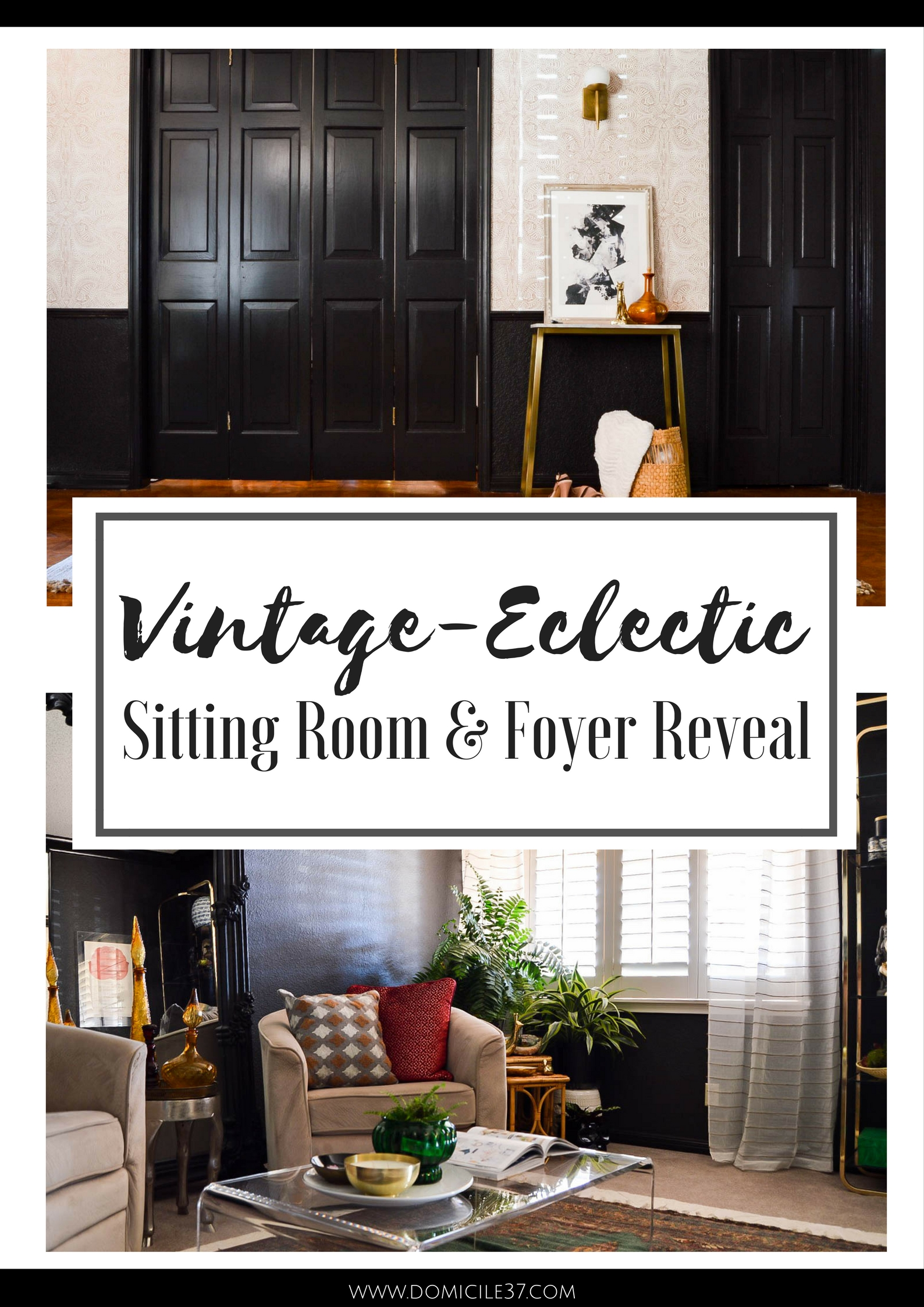 Vintage eclectic sitting and and foyer reveal | moroccan inspired interiors | Andanza wallpaper from Hygge & West