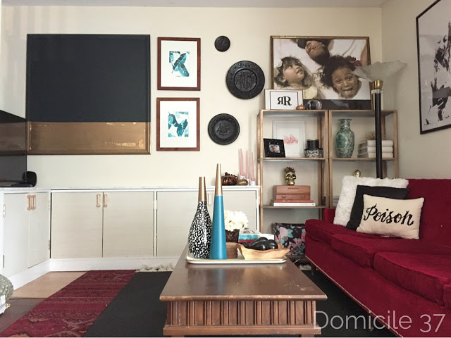 Faux built-in console | rental friendly hacks | small space solutions |