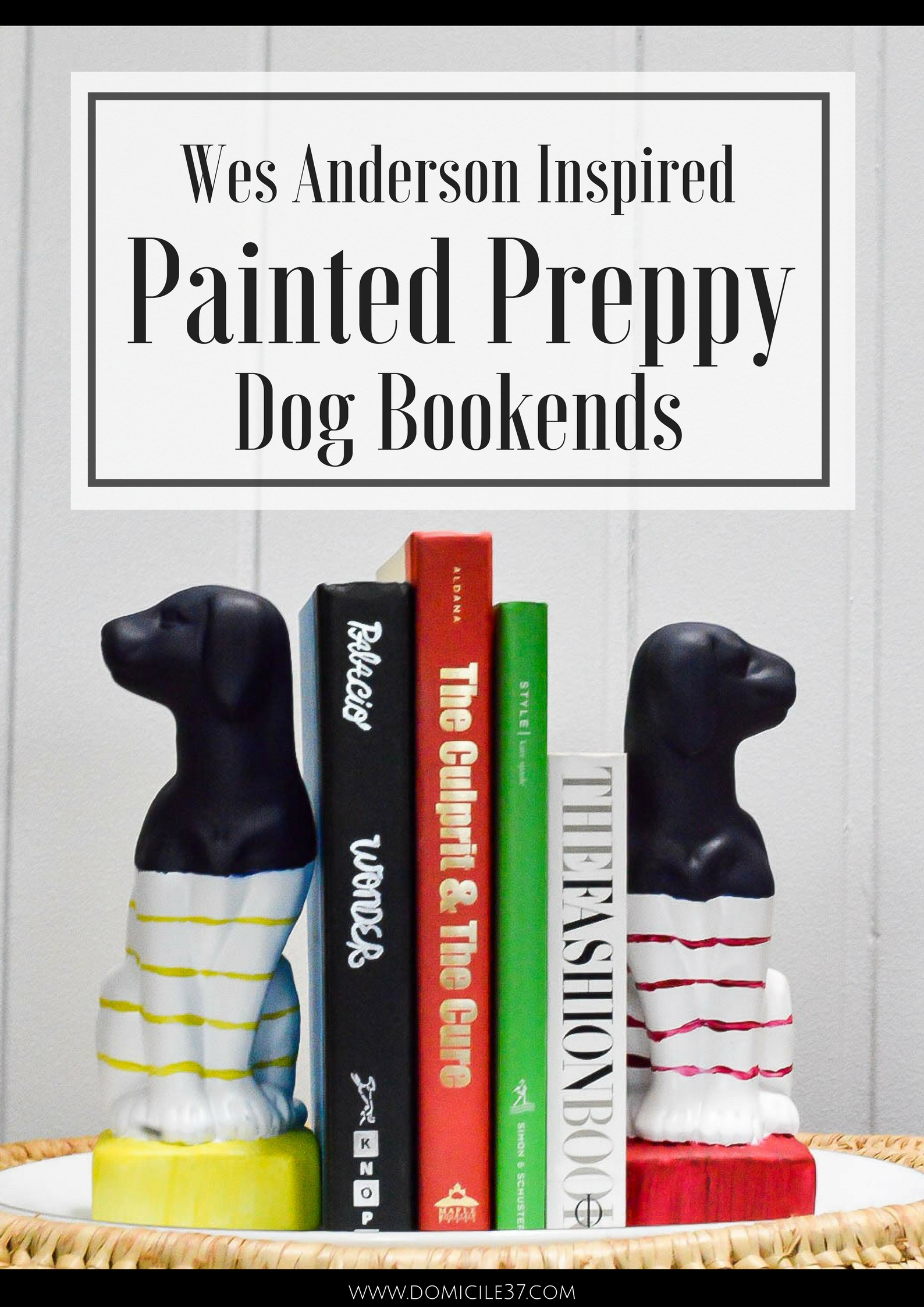 Wes Anderson style | Inspired by DIY | DIY Bookends | Dog Bookends | Preppy decor | Wes Anderson inspired home decor | Wes Anderson theme | Hobby Lobby dog decor DIY | Striped bookends | kids room decor