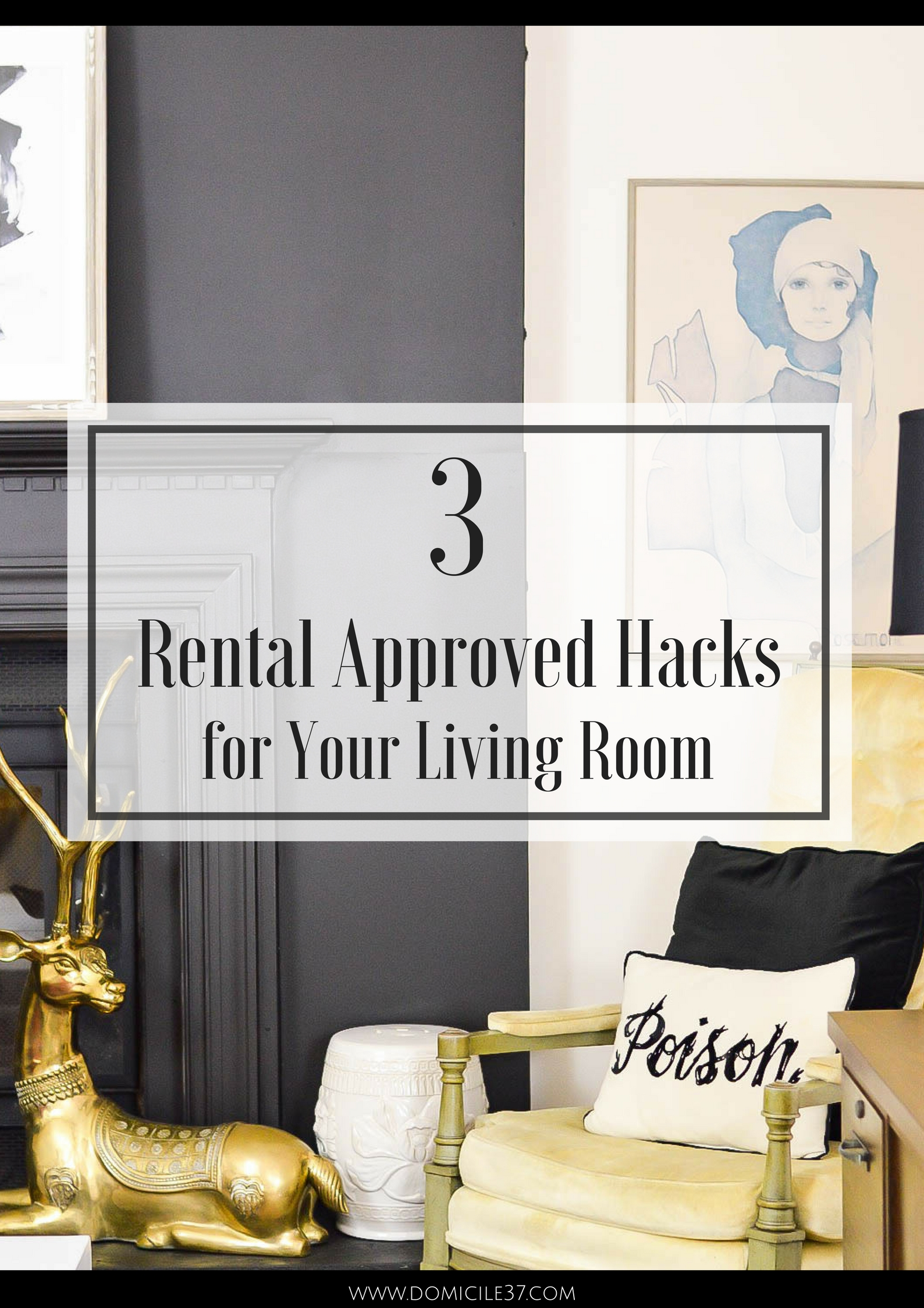 Small space solutions | rental friendly DIY | Rental Approved | Rental living | faux fireplace facade | marble fireplace surround DIY | faux built-ins