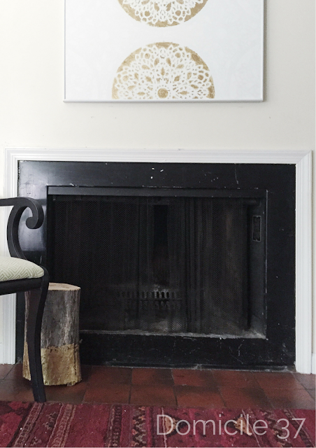 Renters' best hacks living room | faux marble fireplace surround | before and after
