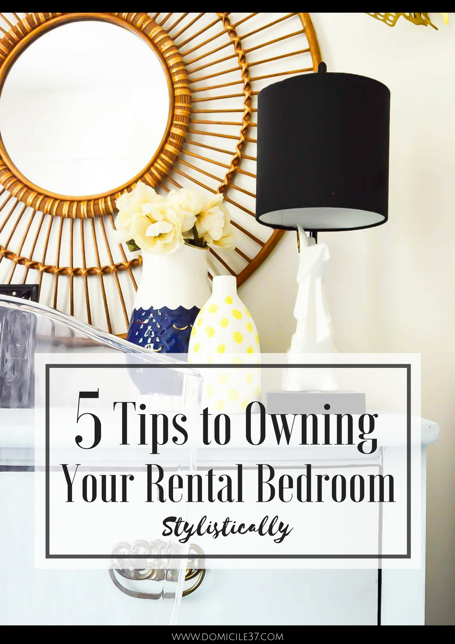 5 Tips to Creating a Stylish Rental Bedroom | Rental Bedroom Hacks | Boho style bedrooms | Bohemian style | Bohemian eclectic bedroom | rug headboard