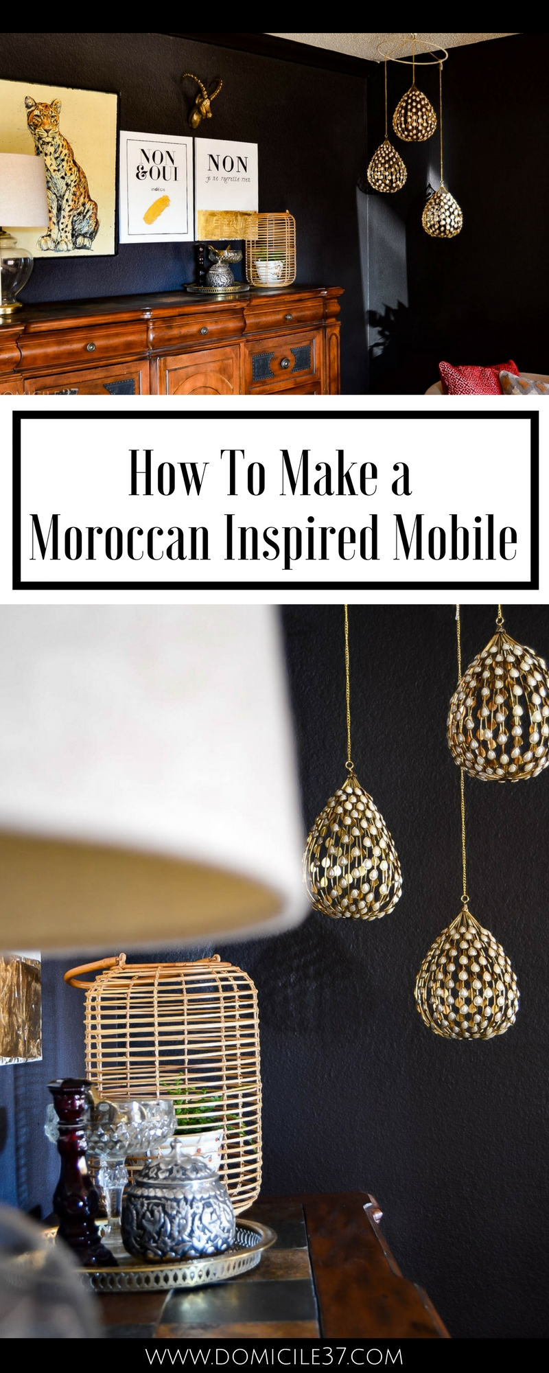 How to make a Moroccan inspired mobile | Moroccan decor | Global home decor | What to do with ornaments | Boho style decor