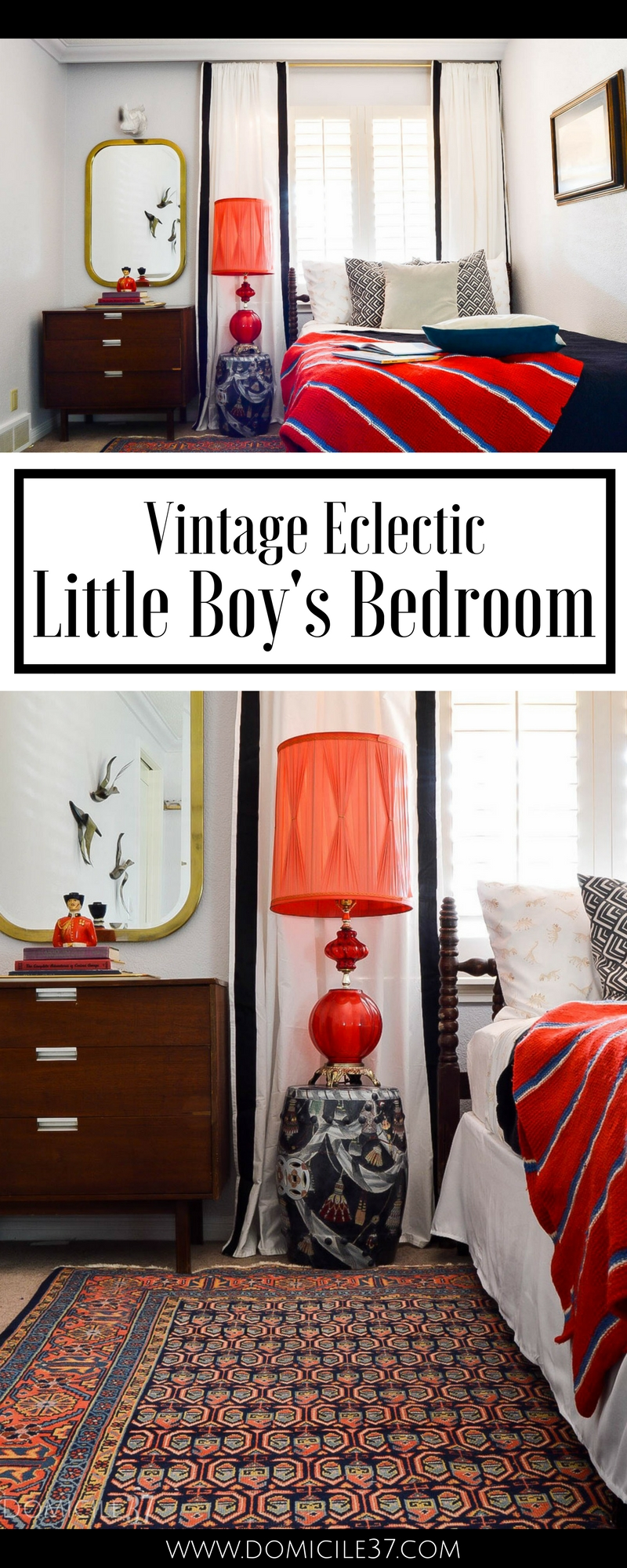Vintage Eclectic little boy's room | Wes Anderson inspired bedroom | colorful boy's room | collected bedroom | eclectic bedroom ideas | vintage bedroom ideas | colorful bedroom ideas | gallery wall ideas | How to display vintage items on gallery wall | taxidermy in bedrooms