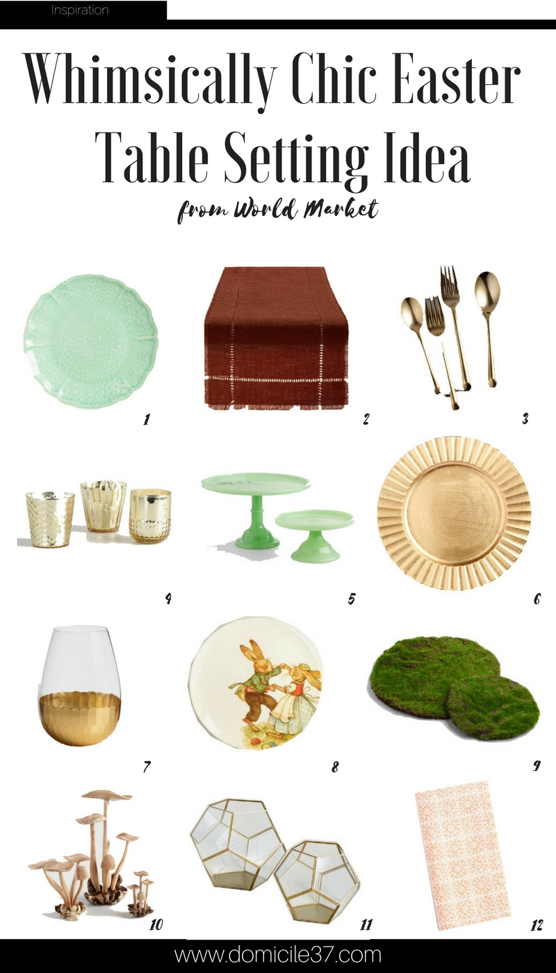Easter Ideas   Easter table setting ideas   Easter Tablescape   World Market   World Market Easter Ideas   Eclectic table setting ideas for Easter