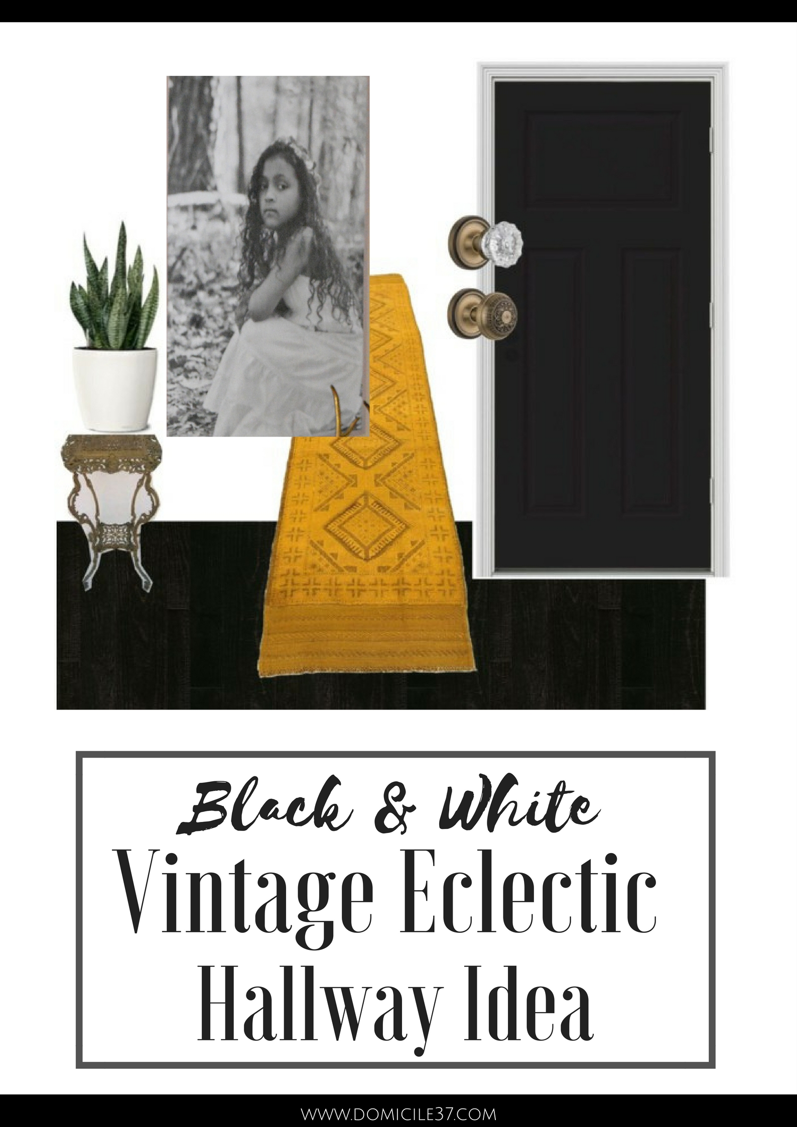 One Room Challenge | Vintage Eclectic Hallway ideas | Black and White Hallway