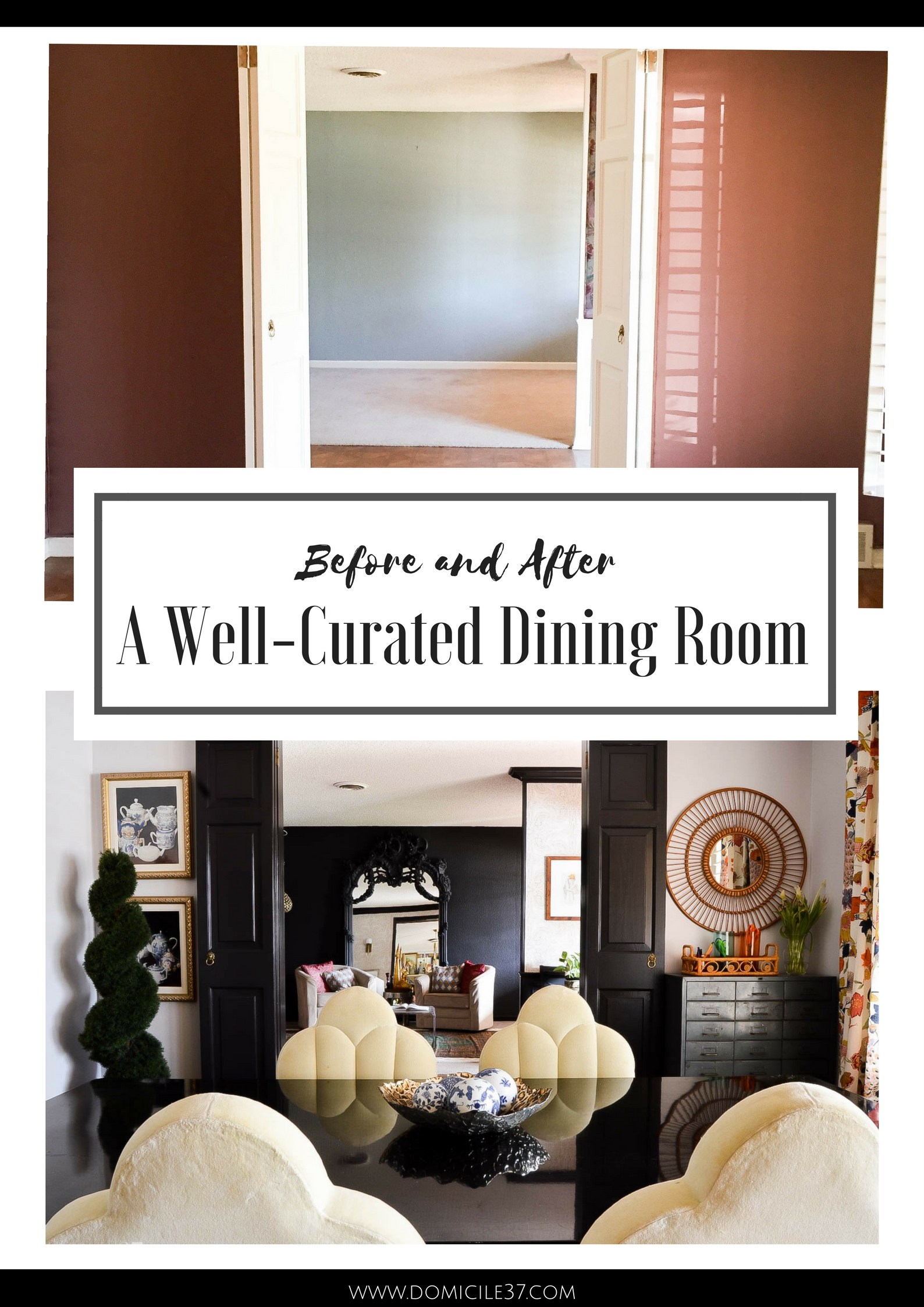 Curated dining room, eclectic dining room, black doors in dining room, vintage eclectic dining room