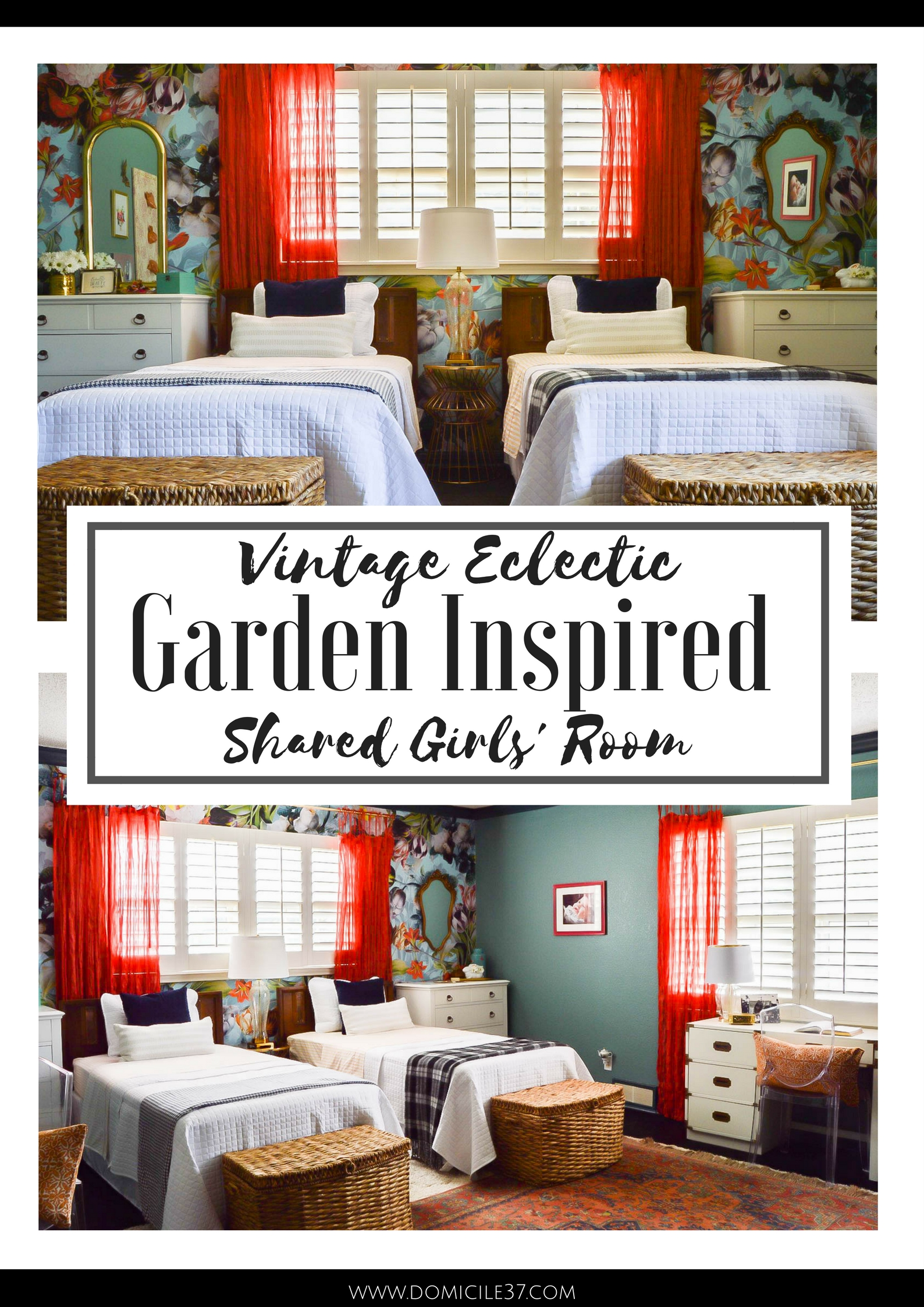 Shared girls' room | Bedroom ideas for little girls | Shared bedroom ideas | Vintage eclectic bedrooms | Garden inspired bedroom ideas | Wallpaper in kids bedroom | floral wallpaper in kids room | girls' bedroom idea| Matching twin beds | Mixing and Matching in shared bedroom