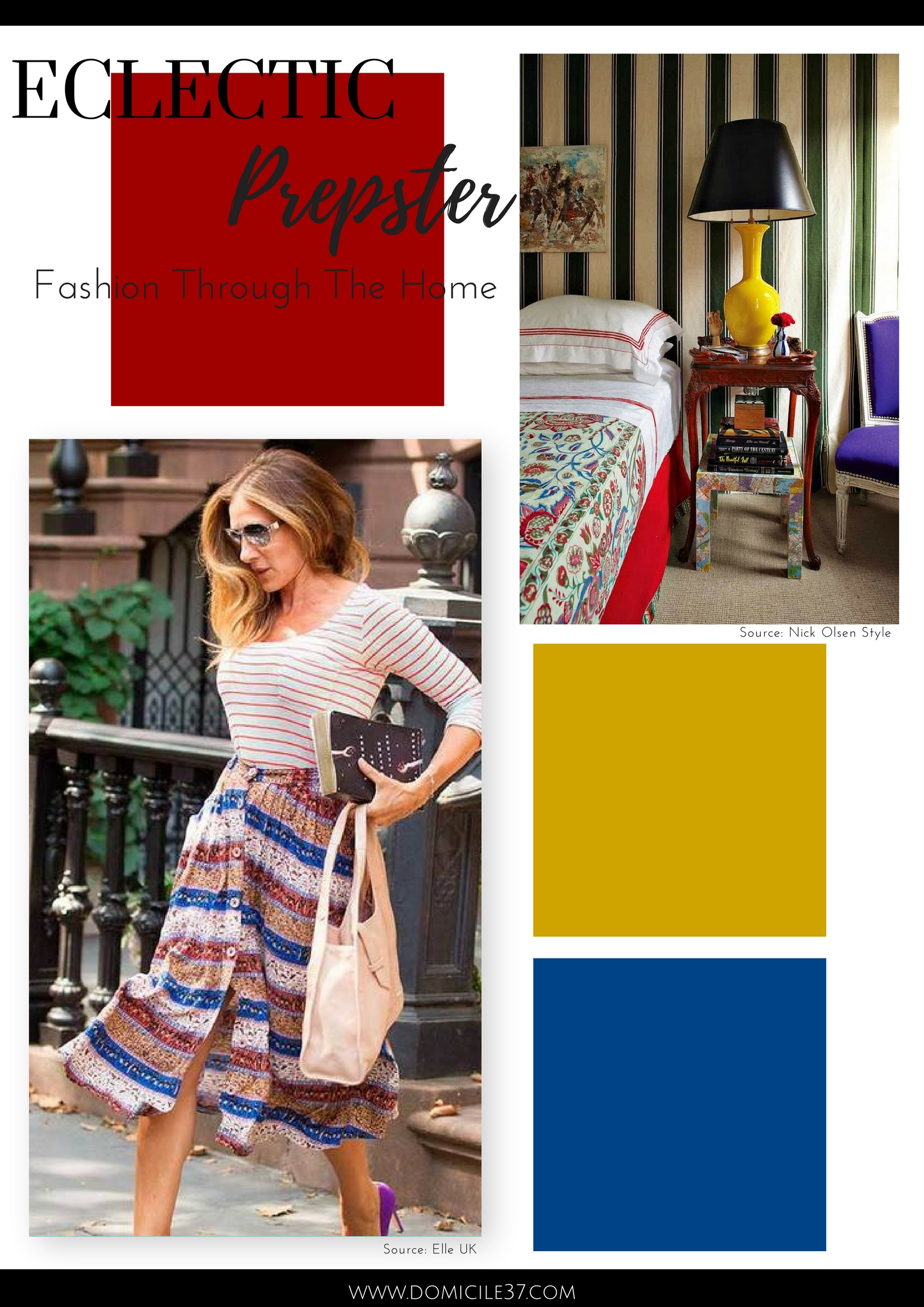 Home Decor inspired by Sarah Jessica Parker fashion | Preppy fashion and home style | Mix and match decor