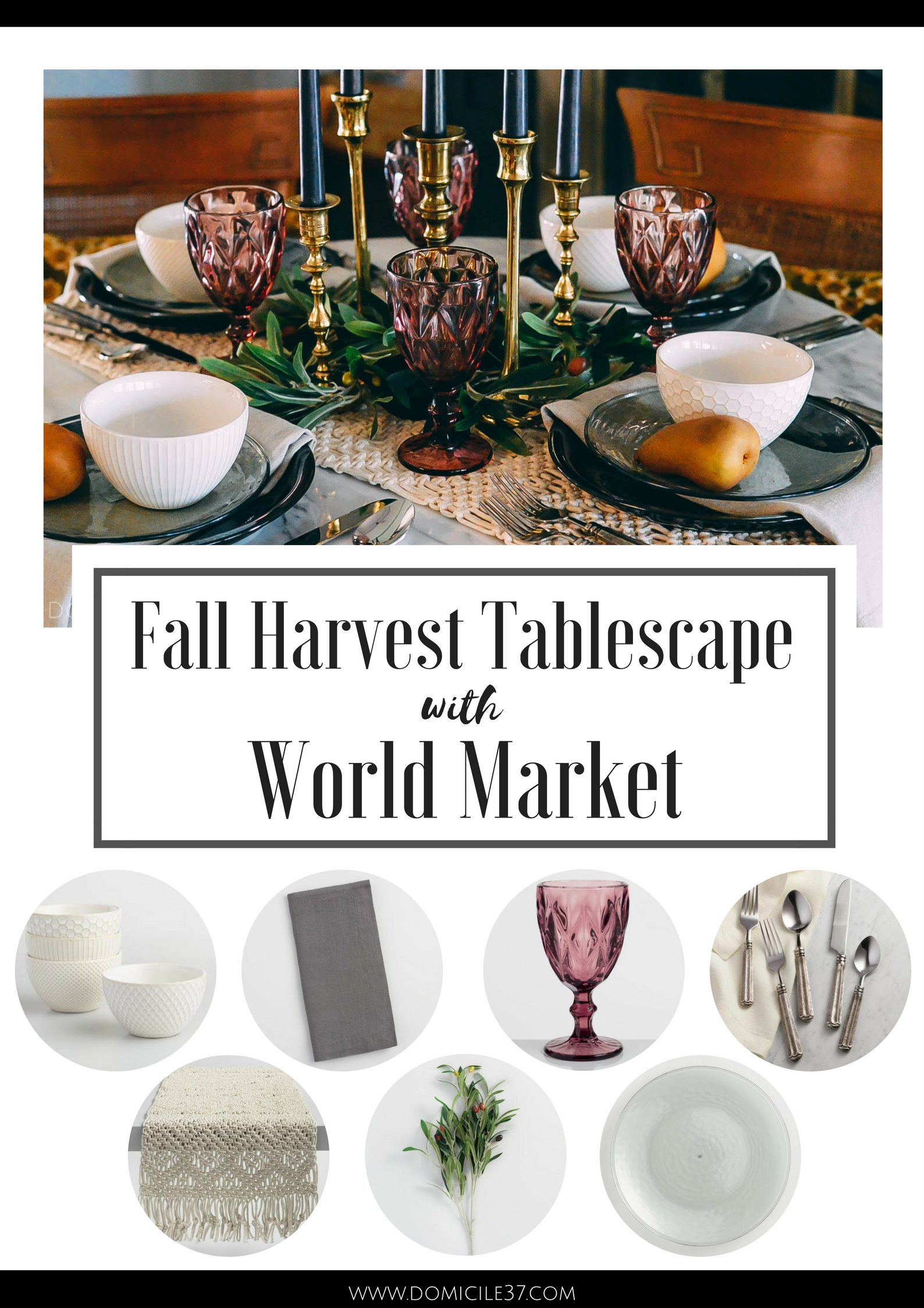 World Market Fall Harvest Tablescape Idea | Gothic tablescape | Medieval table setting | Moody Fall table setting
