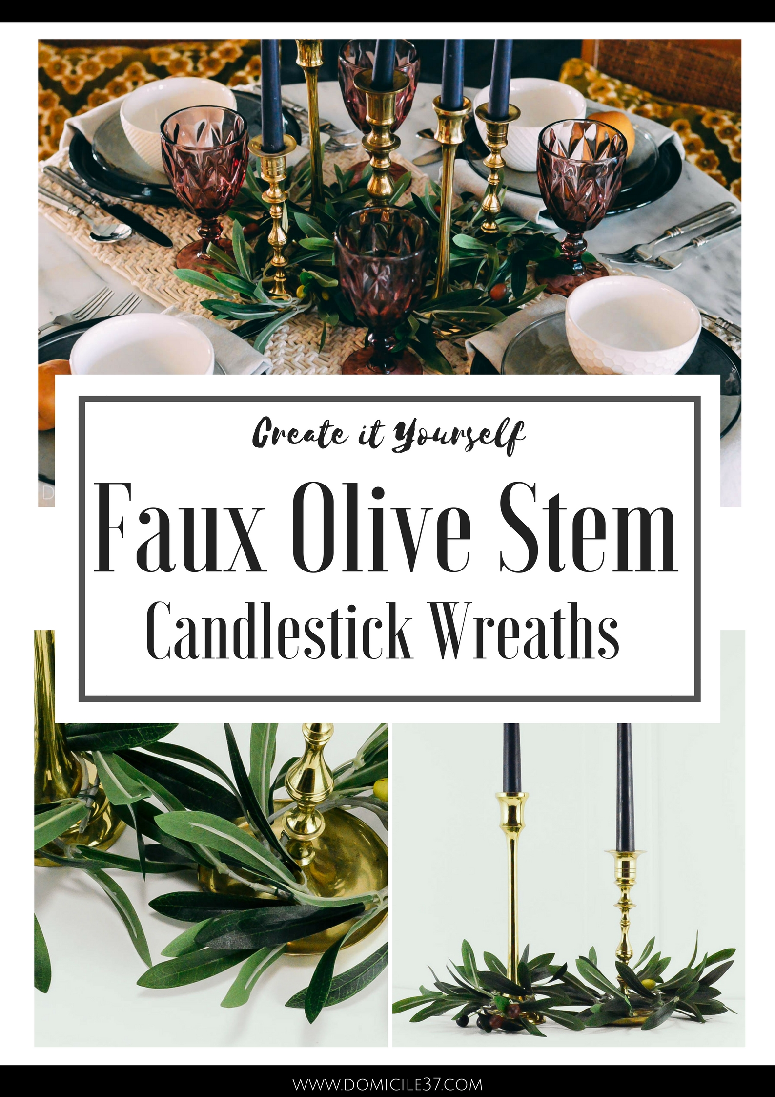 DIY Candlestick Wreaths | Faux Olive Stems | Olive Branches | Fall Tablescape Ideas | Table setting ideas | Eclectic Tablescape