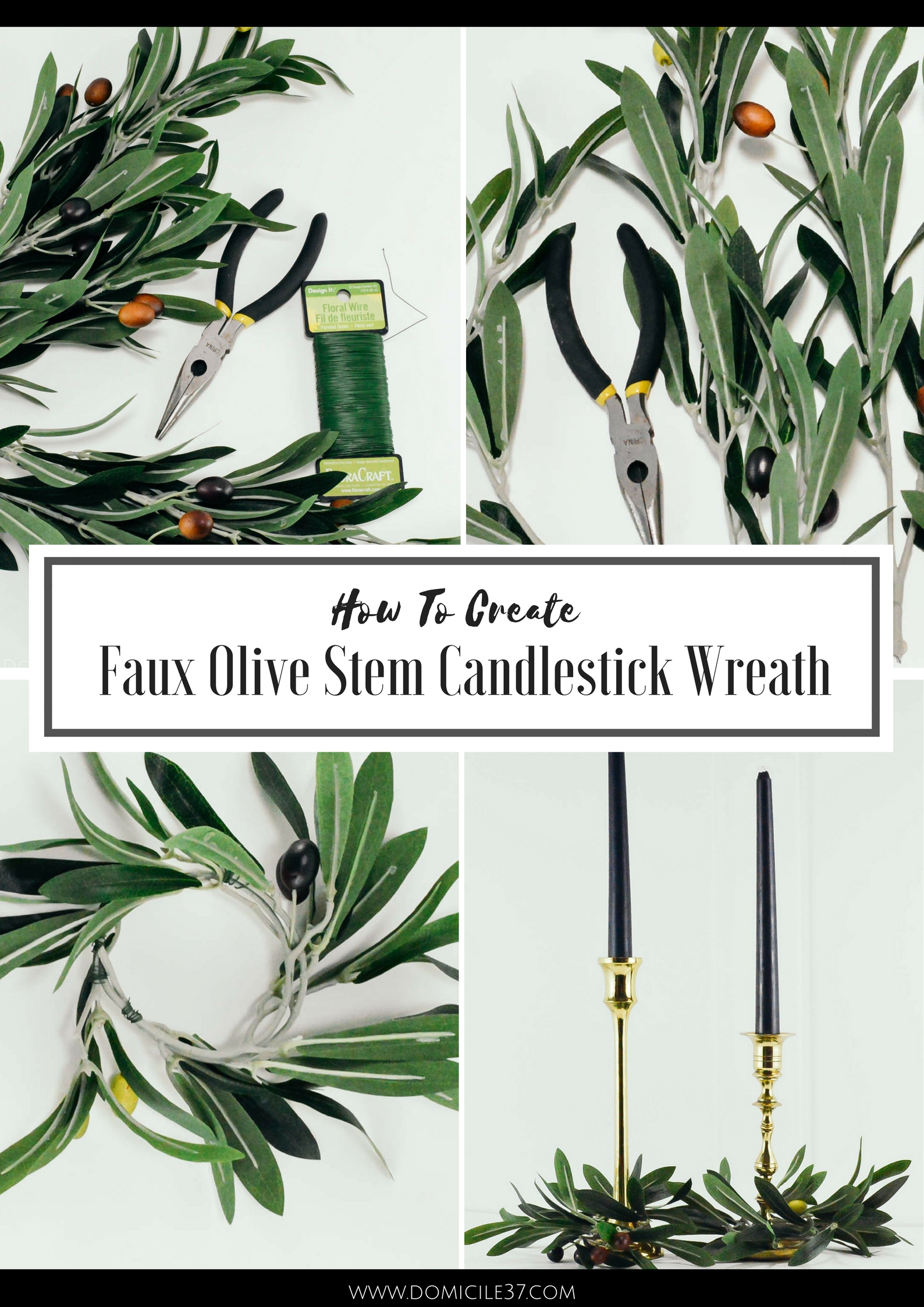 How to make olive stem candlestick wreaths | candlestick wreaths | Decorating with olive branches