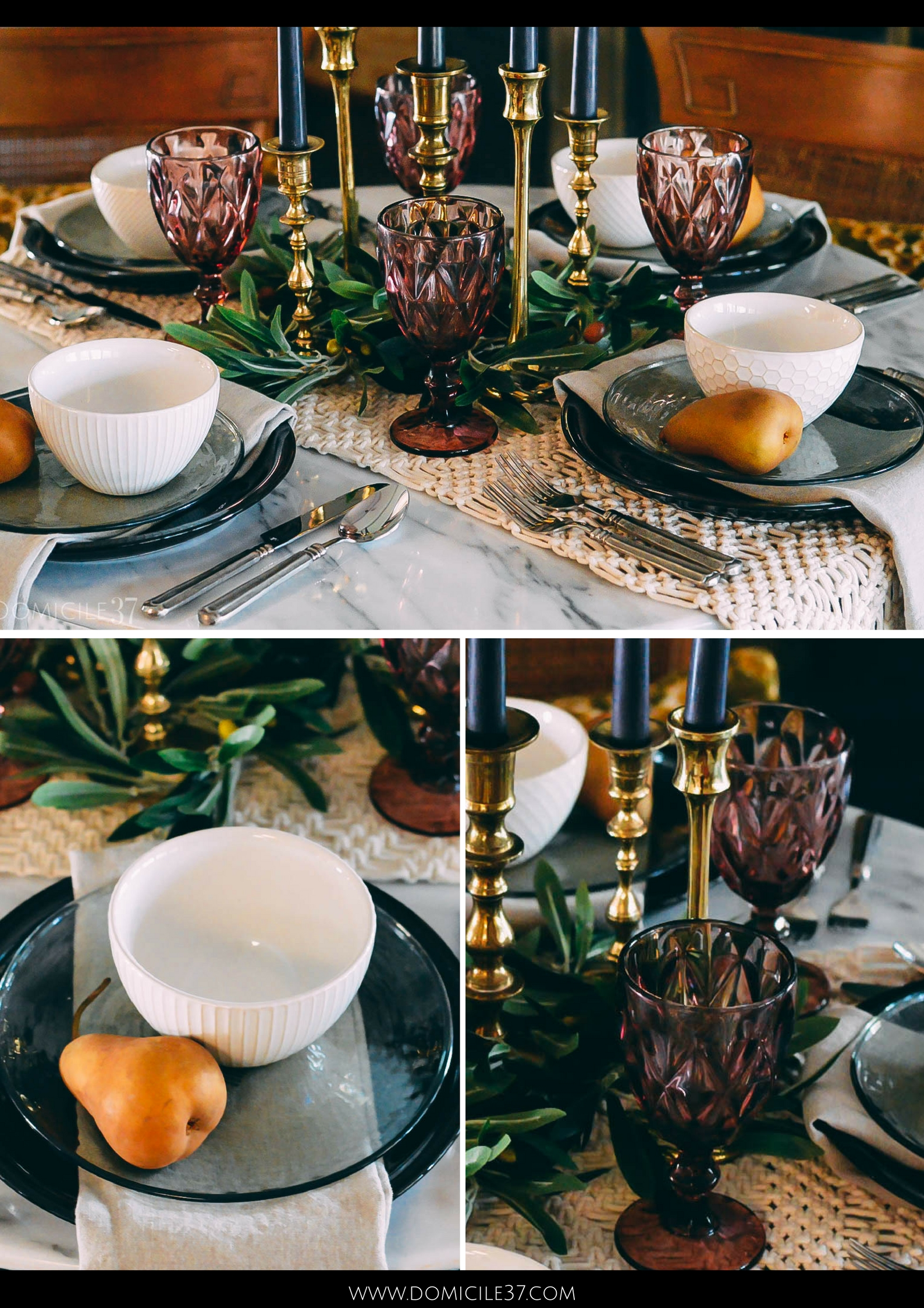 World Market Dinnerware | World Market inspired tablescape | Moody fall table setting | Olive stems | Decorating with olive branches