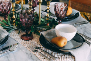 Moody Fall Tablescape Ideas using DIY Olive Branch Candlestick ringlets