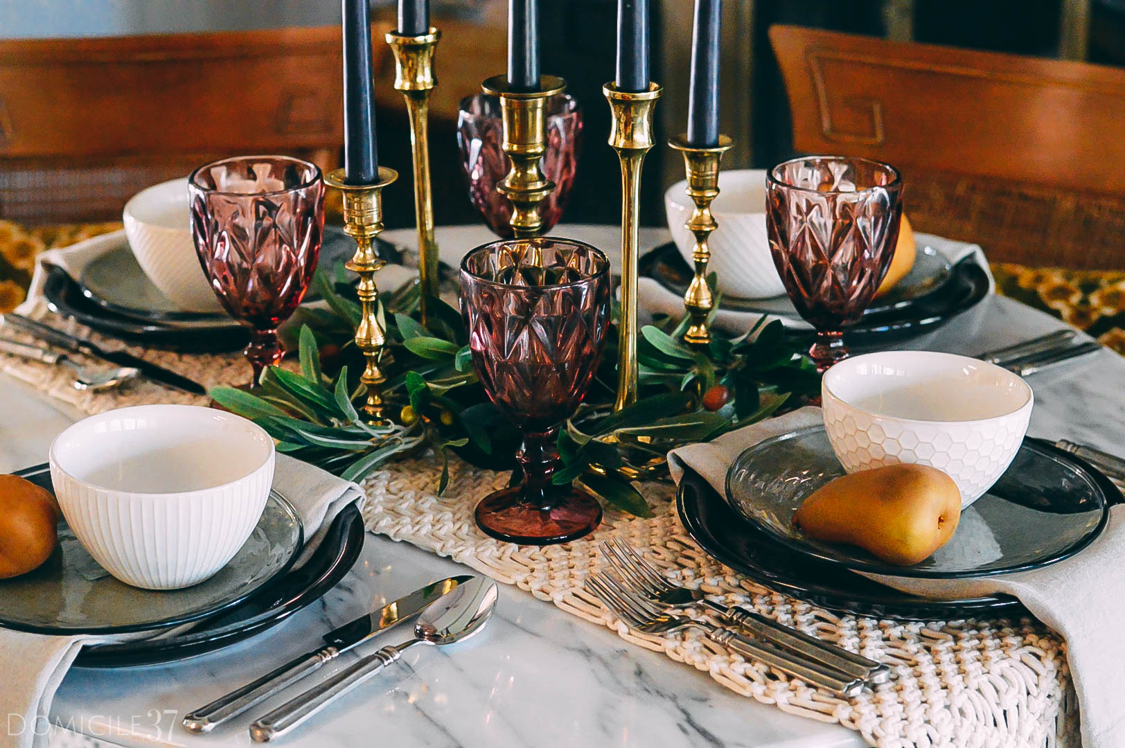 Medieval table setting | Medieval tablescape ideas | Fall Harvest Tablescape | Entertaining Ideas | World Market dinnerware