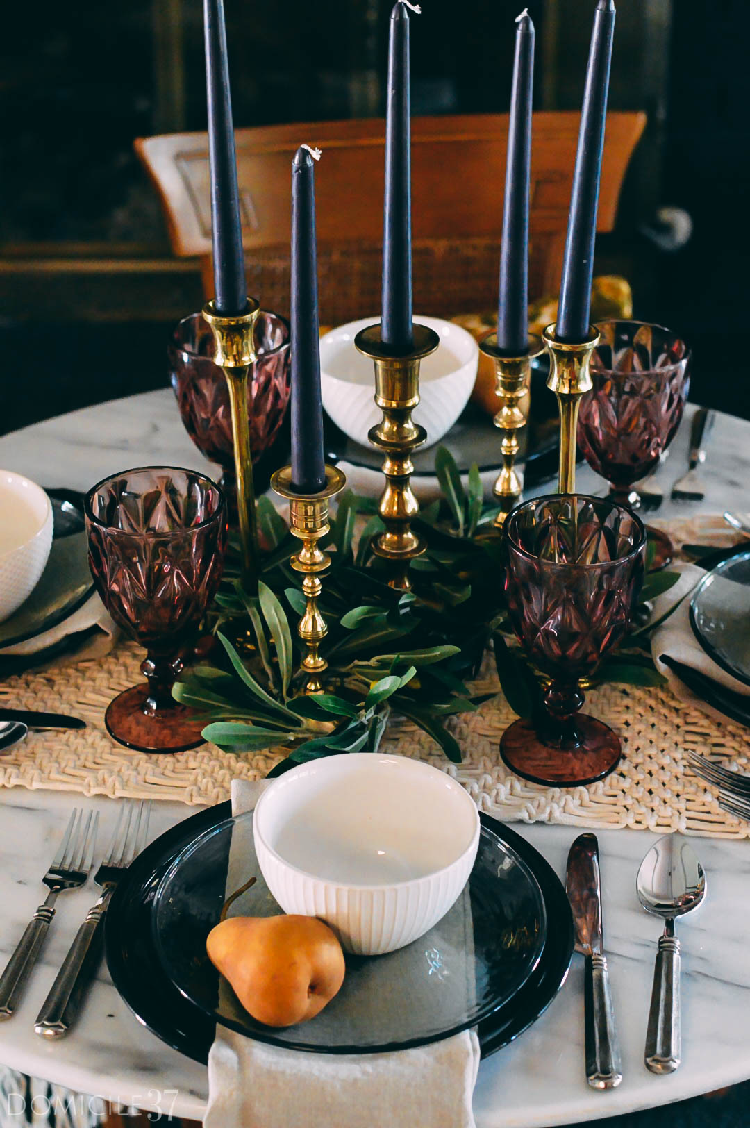 World Market Fall Tablescape Ideas | Moody Fall tablescape | Mix and Match tablescape | vintage candlesticks | Black candles | Eclectic tablescapes
