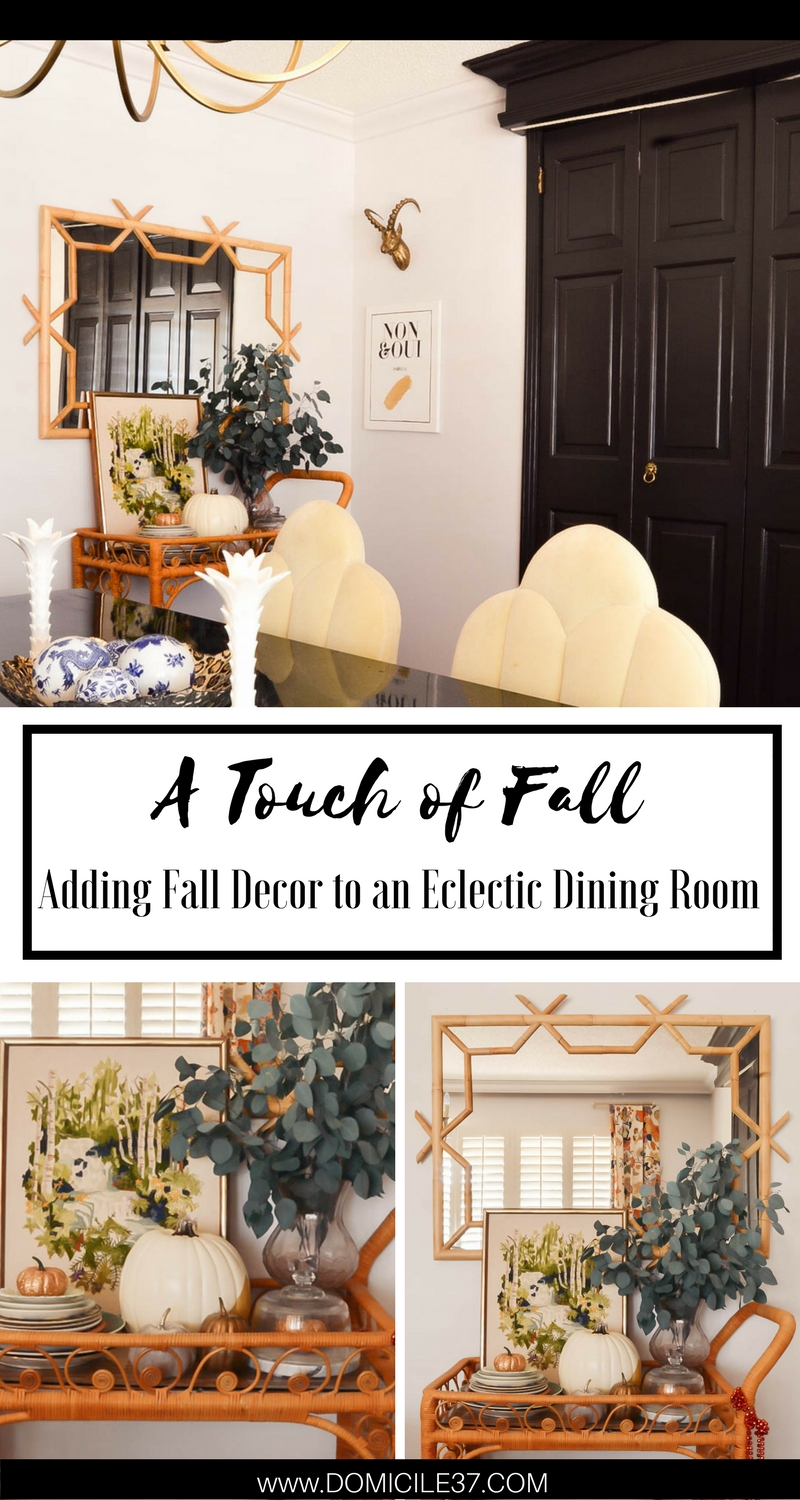 Bar cart styling| Fall Bar Cart Styling | Eclectic dining room | Decorating for fall | Fall eclectic spaces | Fall Decor