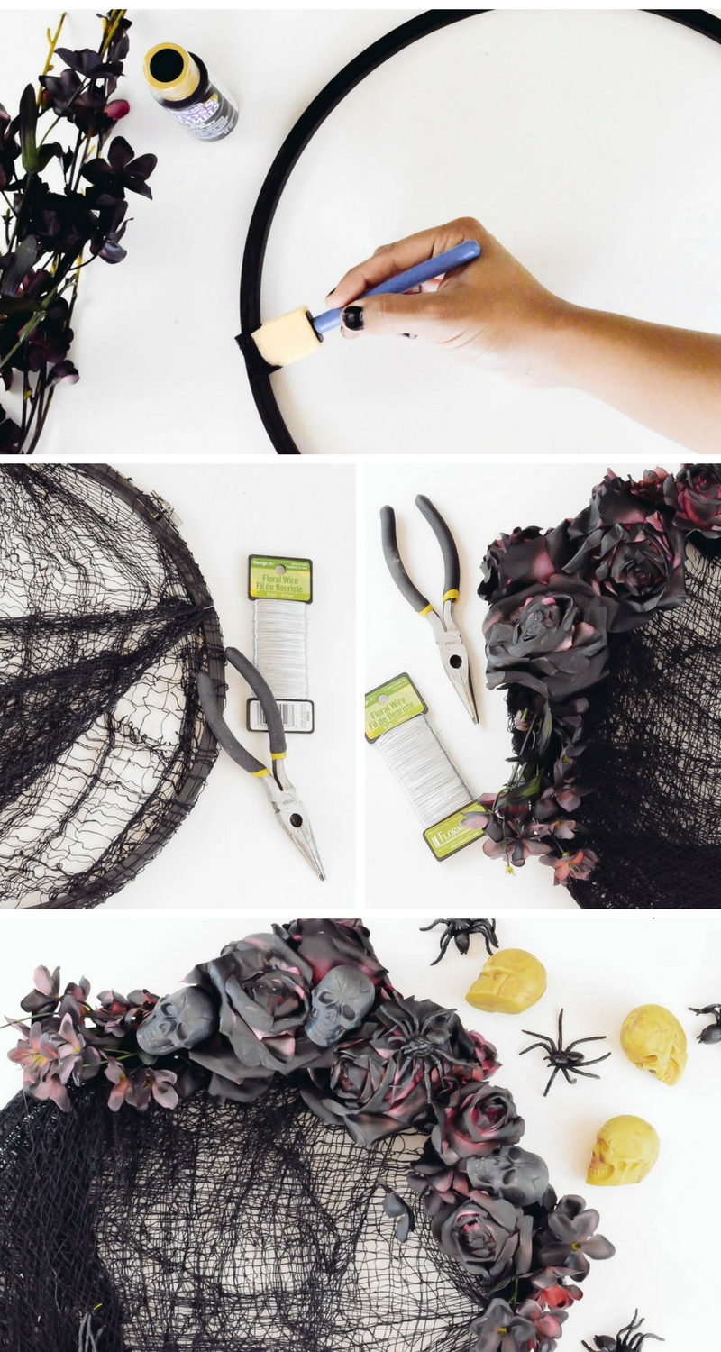 Halloween Spooky black roses skeleton wreath | Halloween wreath tutorial | Skull wreath tutorial | Wreaths made with mesh | Halloween decor