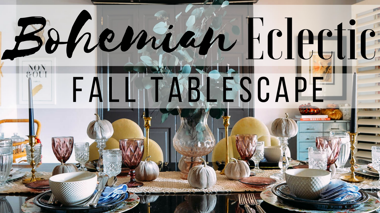 Youtube fall home decor | Bohemian eclectic fall tablescape | candlestick wreath | how to decorate your home
