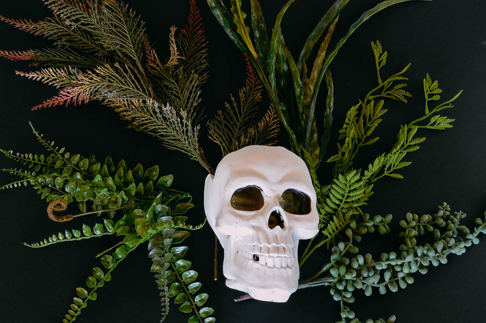 Boho Skull planter | Faux plants | Materials used to create a skull planter