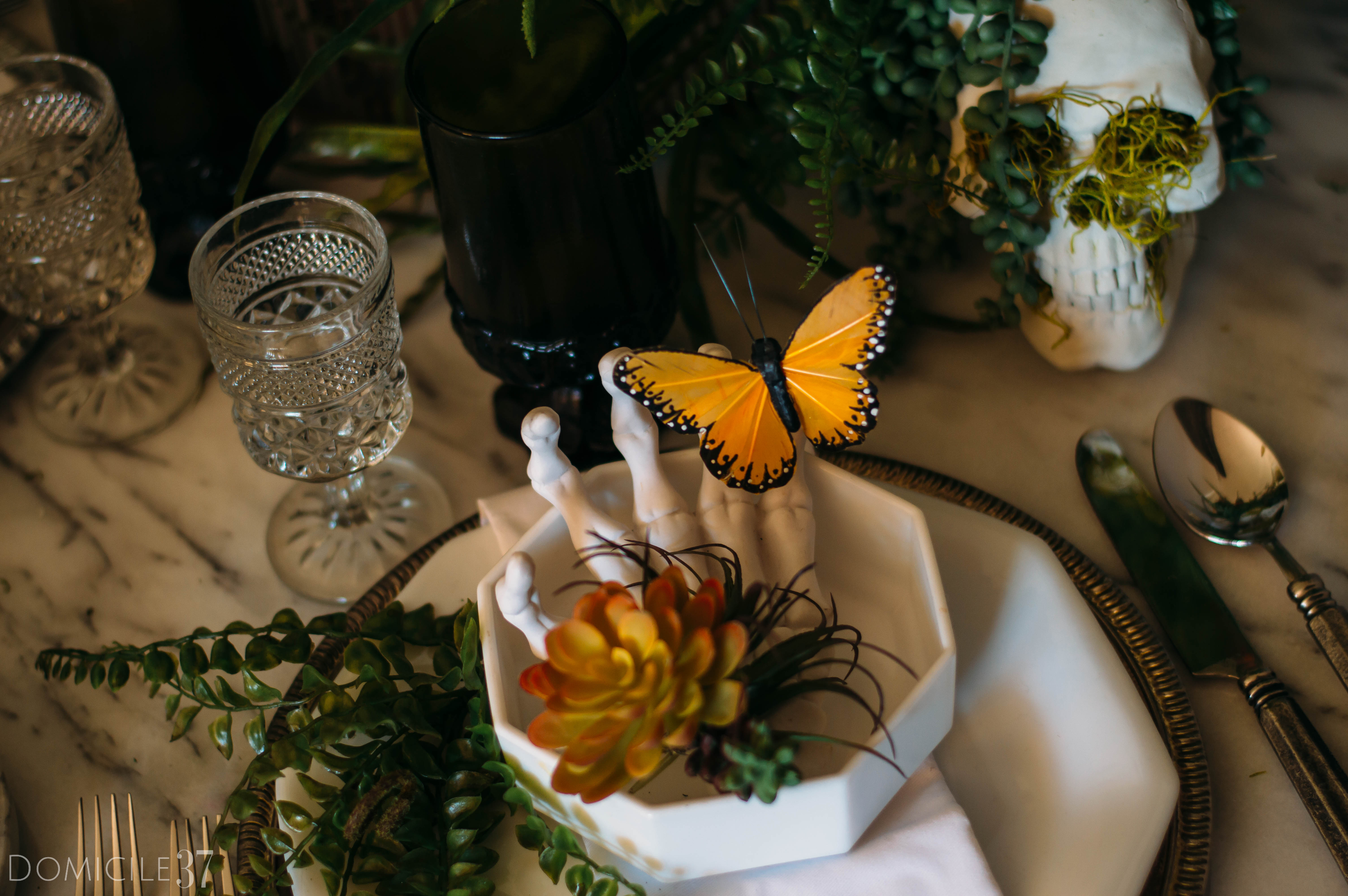Spooky Creepy Halloween Tablescape | Decorating with Butterflies | Skeleton and skull decor | skulls and butterflies