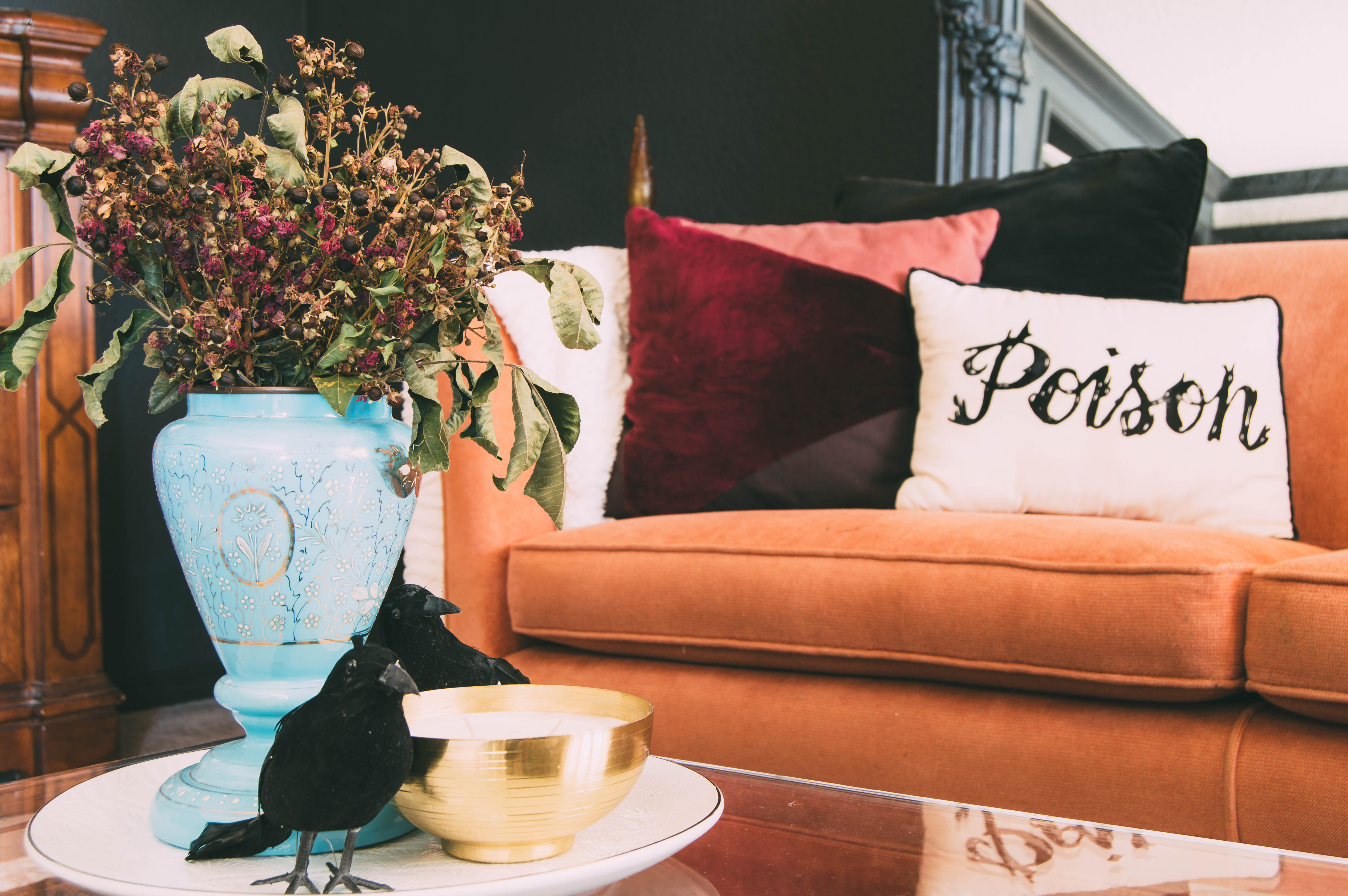 Halloween pillows | Coffee table styling for Halloween | Coffee table styling | Dollar store Halloween