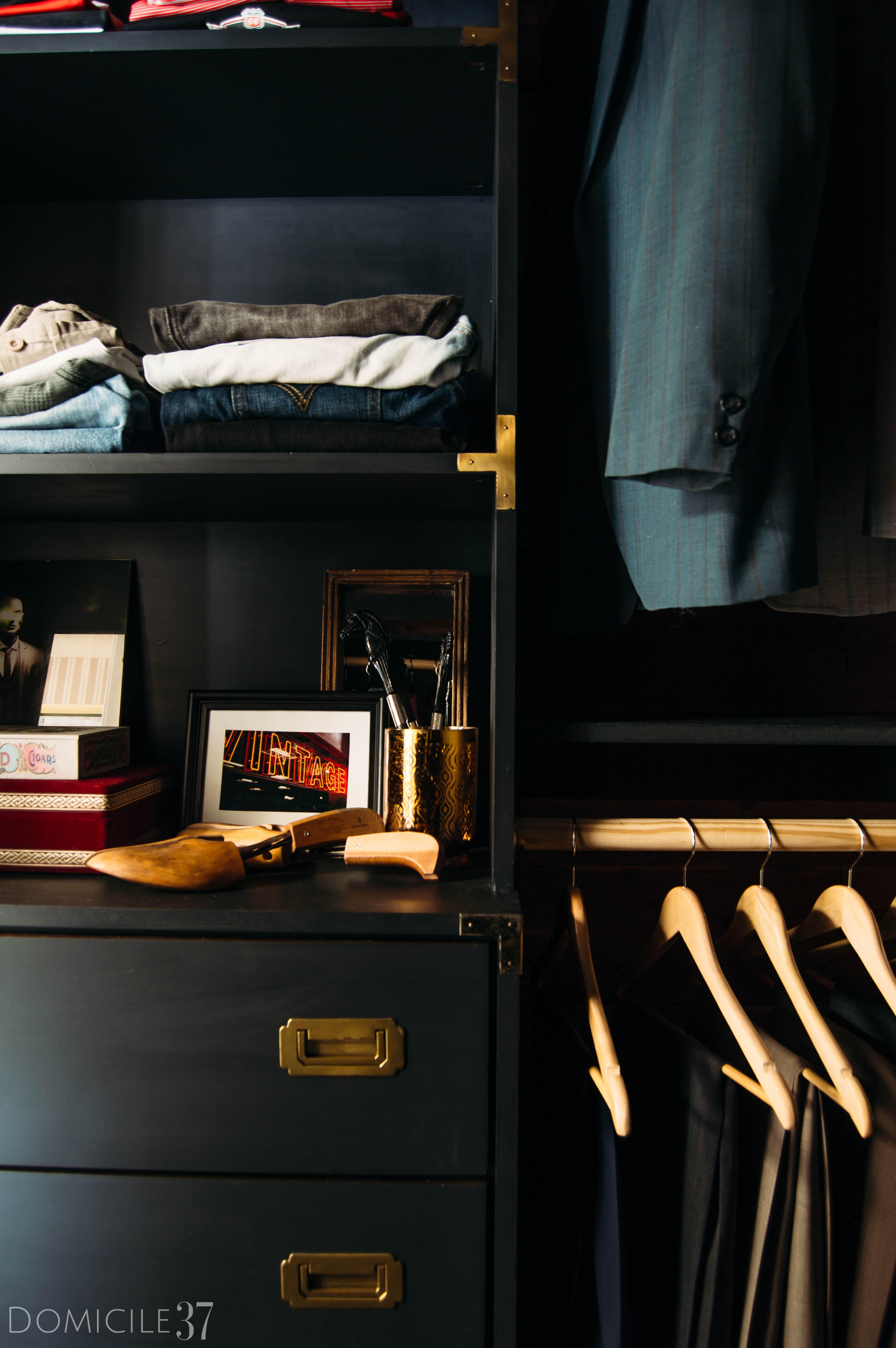 His and Her Shared Master Closet, Masculine Closet, DIY Walk-in Closet, DIY Built-ins, Black Closet, Storage Closet, New Year New Room Refresh Challenge Reveal, Wallpaper Boulevard, Lamps Plus, Mens Dresser Styling,