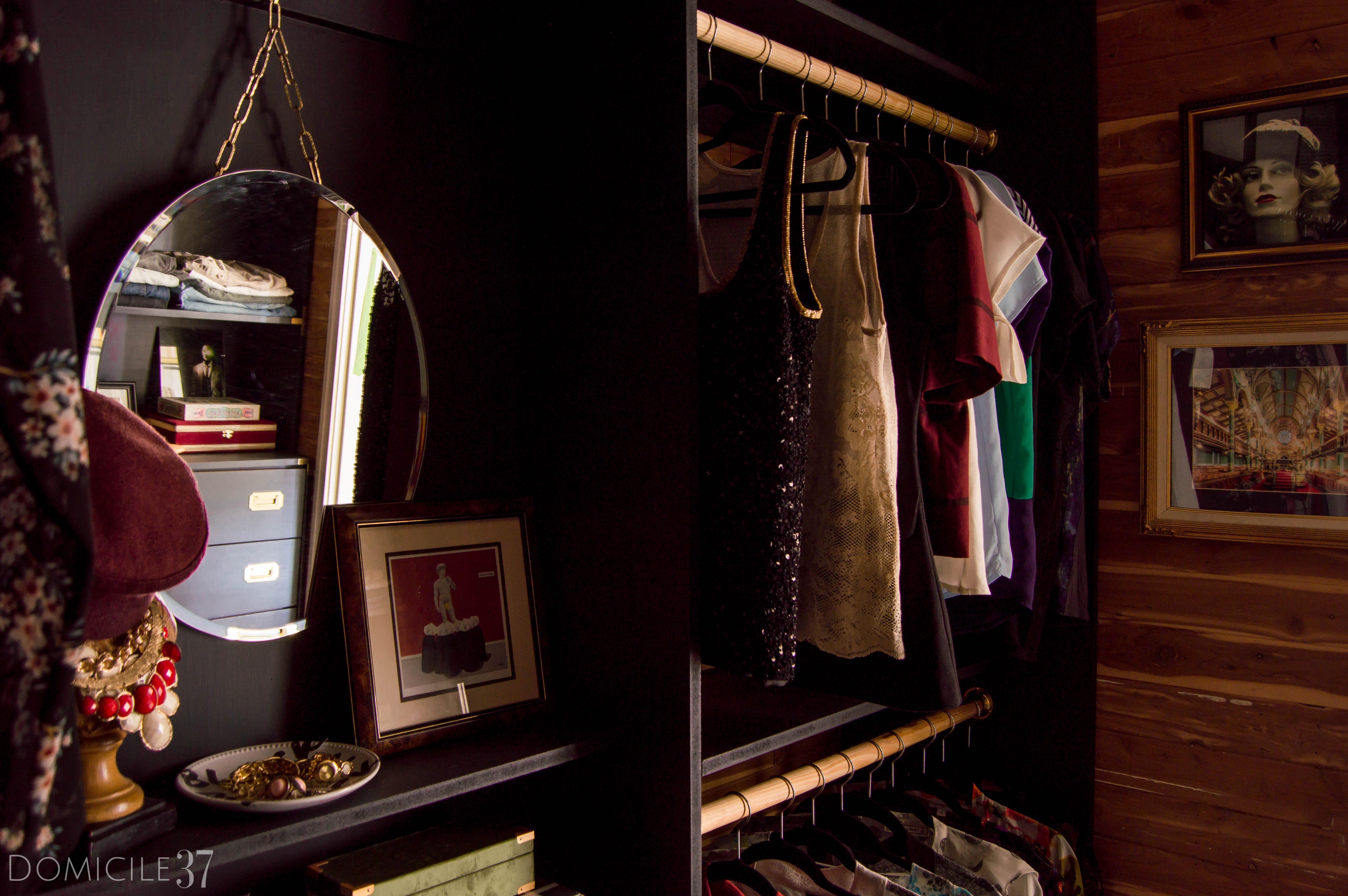 His and Her Shared Master Closet, Masculine Closet, DIY Walk-in Closet, DIY Built-ins, Black Closet, Storage Closet, New Year New Room Refresh Challenge Reveal, Wallpaper Boulevard, Lamps Plus, Dresser Styling, Double Rod Closet