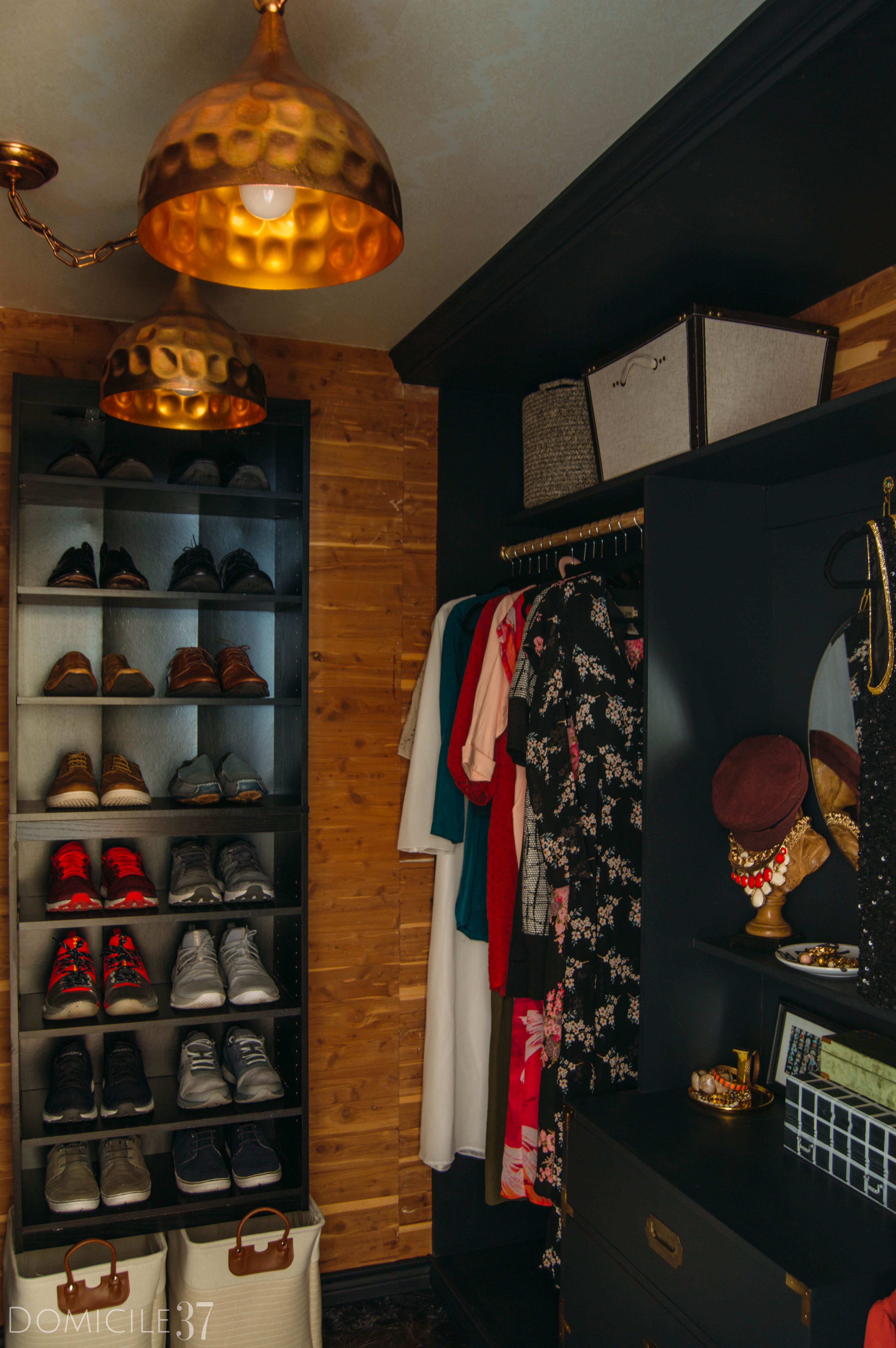 His and Her Shared Master Closet, Masculine Closet, DIY Walk-in Closet, DIY Built-ins, Black Closet, Storage Closet, New Year New Room Refresh Challenge Reveal, Wallpaper Boulevard, Lamps Plus, women Dresser Styling,