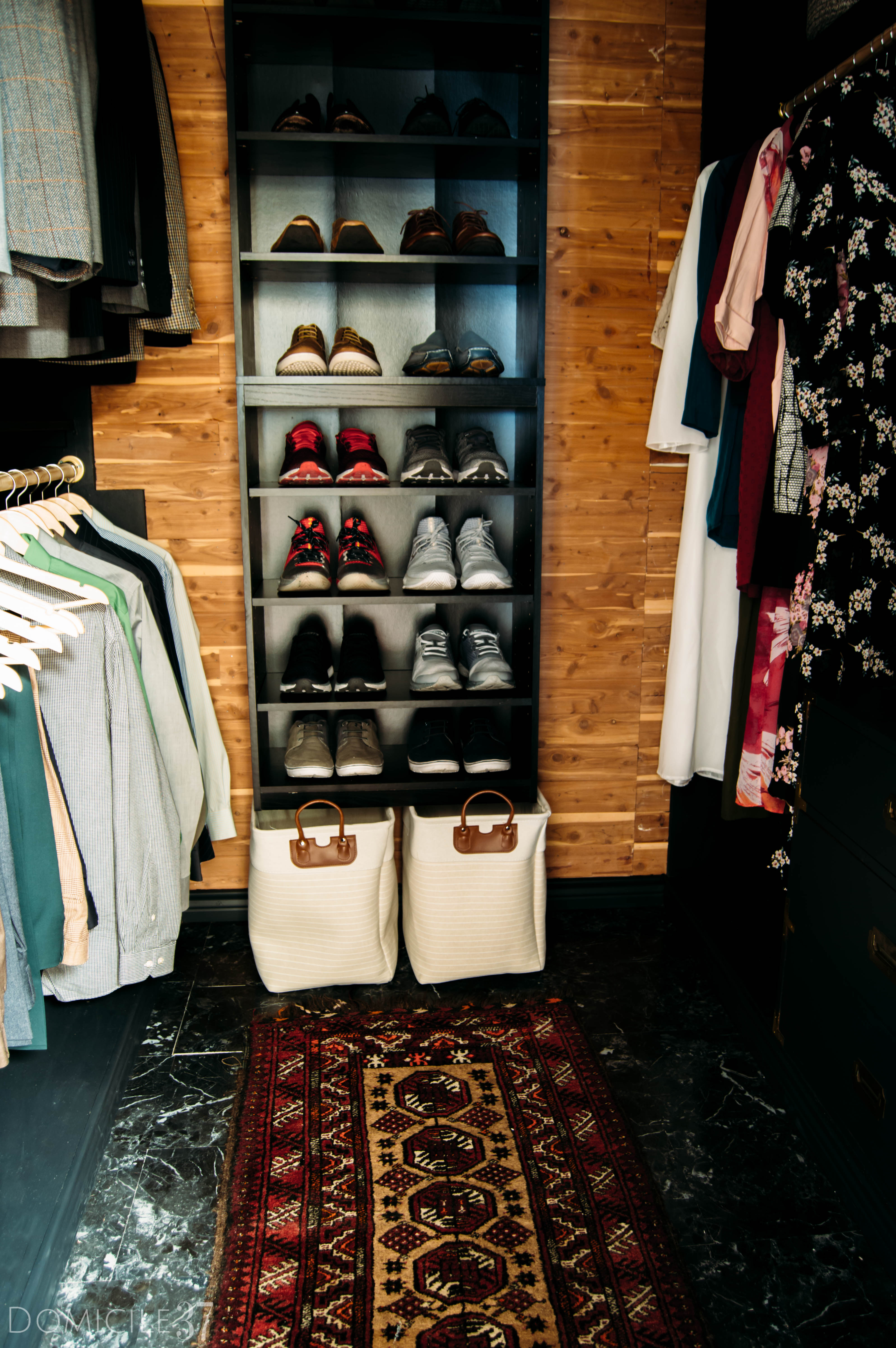 His and Her Shared Master Closet, Masculine Closet, DIY Walk-in Closet, DIY Built-ins, Black Closet, Storage Closet, New Year New Room Refresh Challenge Reveal, Wallpaper Boulevard, Lamps Plus