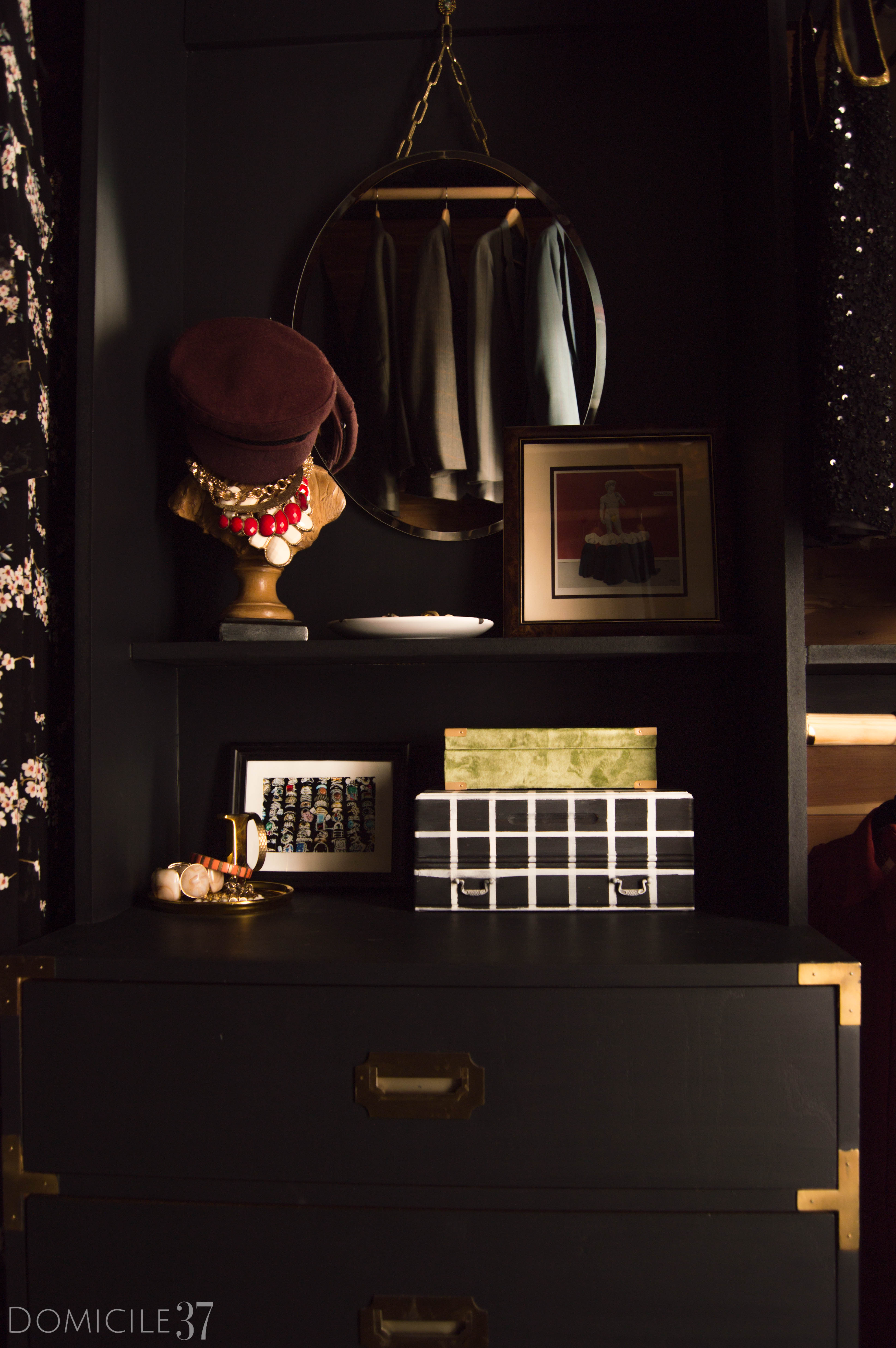 His and Her Shared Master Closet, Masculine Closet, DIY Walk-in Closet, DIY Built-ins, Black Closet, Storage Closet, New Year New Room Refresh Challenge Reveal, Wallpaper Boulevard, Lamps Plus, Dresser Styling