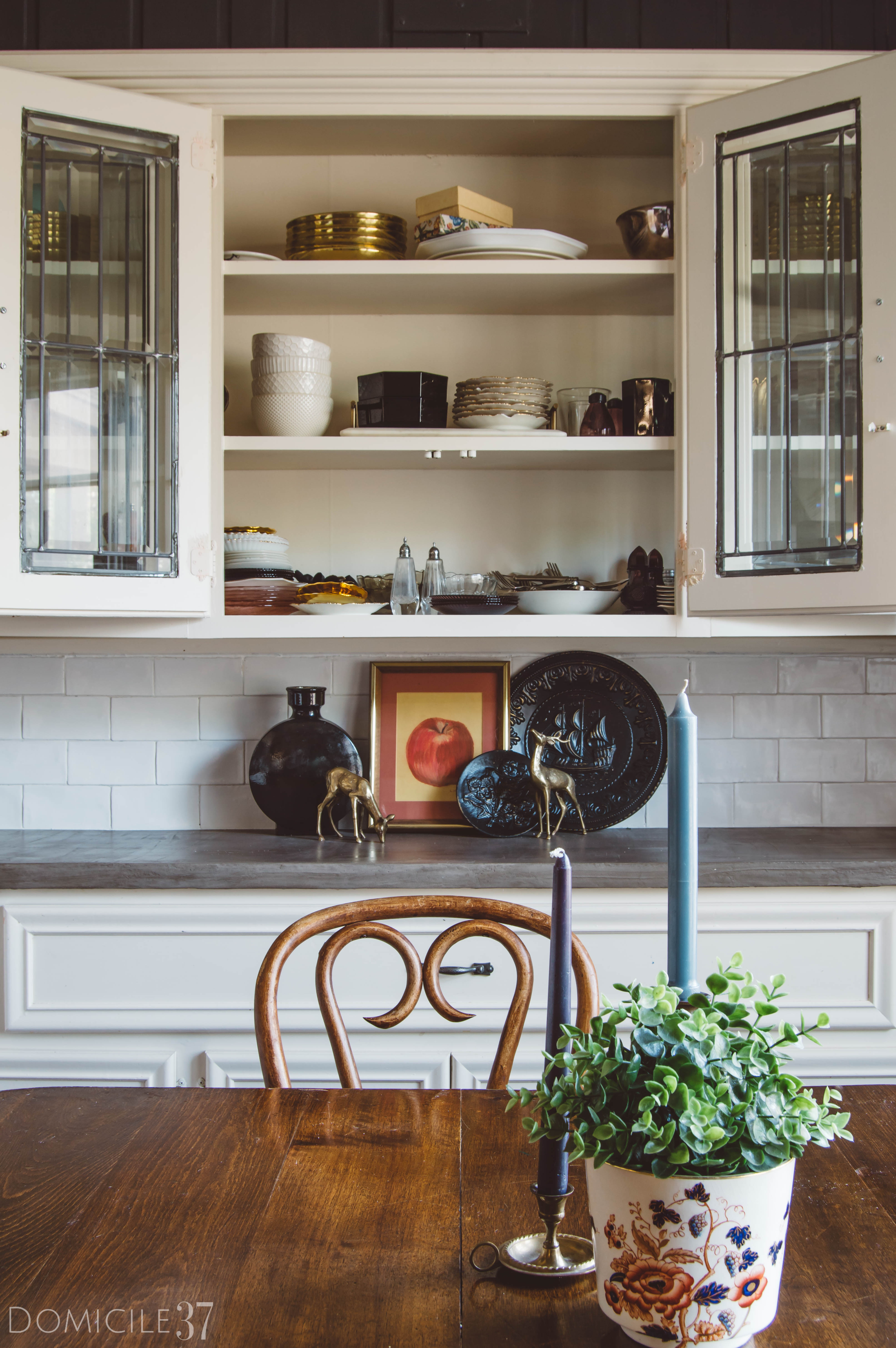 DIY Concrete Countertops, White Subway tile, Cream Cabinets, Vintage Eclectic Kitchen, Home with Soul, Soulful home, European Kitchen Inspiration