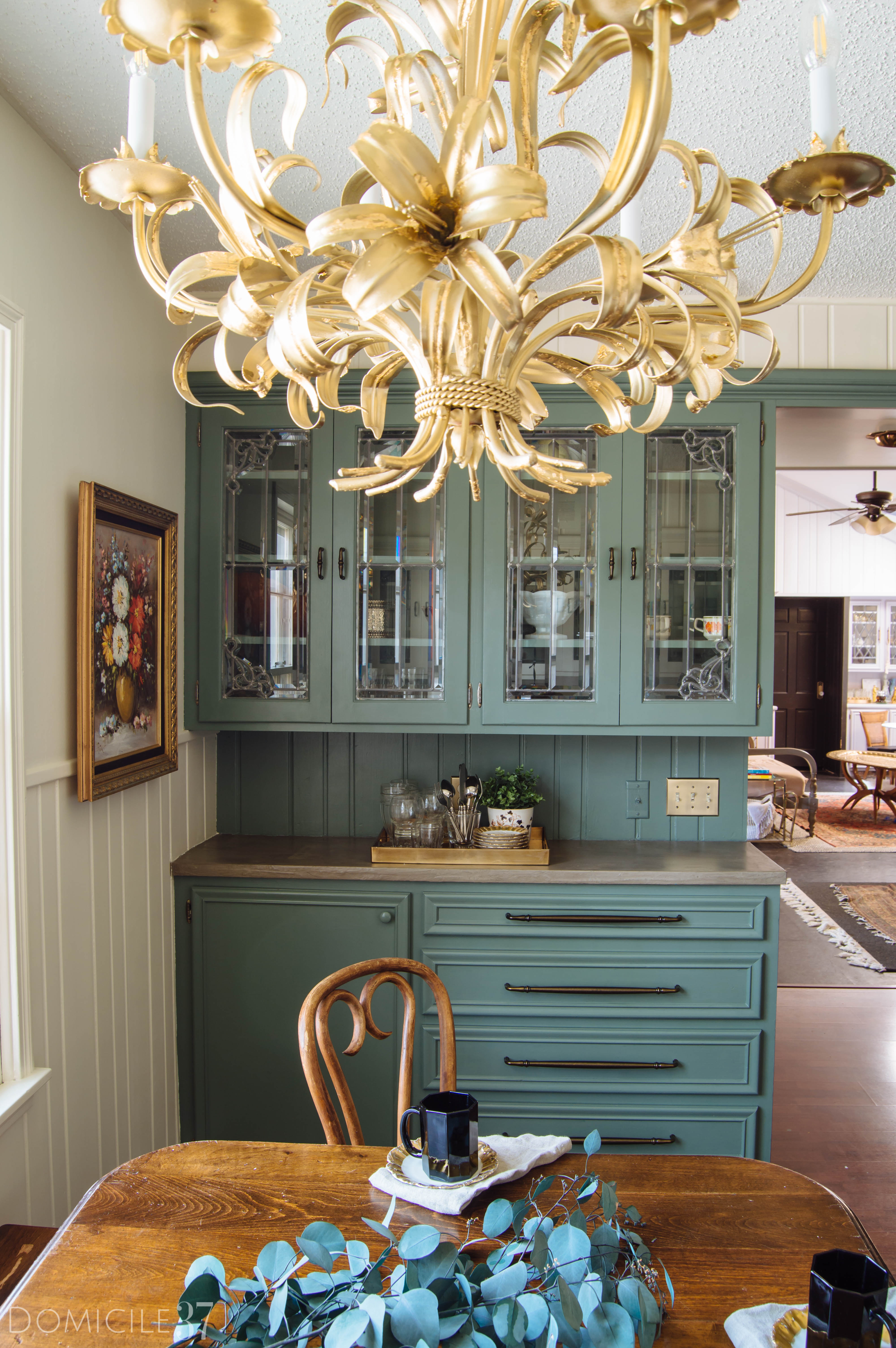 One Room Challenge, European Inspired Breakfast Area, Dining Room Makeover, Vintage Wood Table, Farrow and Ball, Thomas Mach, Clay subway tile, Creame cabinets white subway tile, Farrow and Ball Clunch Paint, simple decor styling, italian toleware chandelier, persian rug dining room, DIY gold leaf light fixture, vintage oil painting, green kitchen cabinets, Liberty Hardware Antique Brass Pulls, Liberty Hardware Mix and Match Hardware