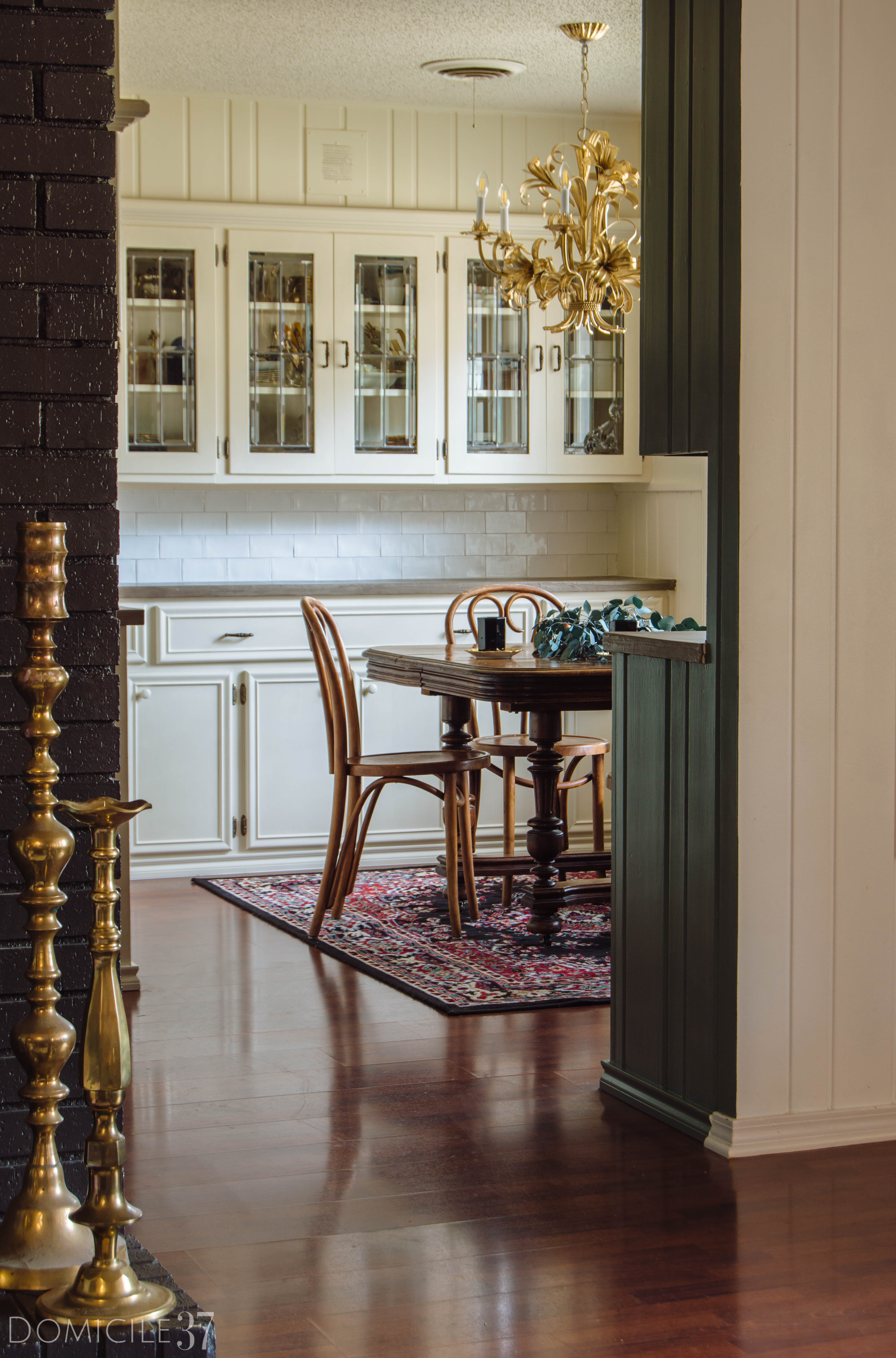soulful home, Hallway makeover, Farrow and Ball Clunch, Gold frames, Photograph Art, DIY Coat Rack, Tufted Yellow Bench Lamps Plus, Wall Paneling, Nostalgic Hardware, Vintage Reproduction door knobs, Farrow and Ball Clunch, Thomas Mach Interiors